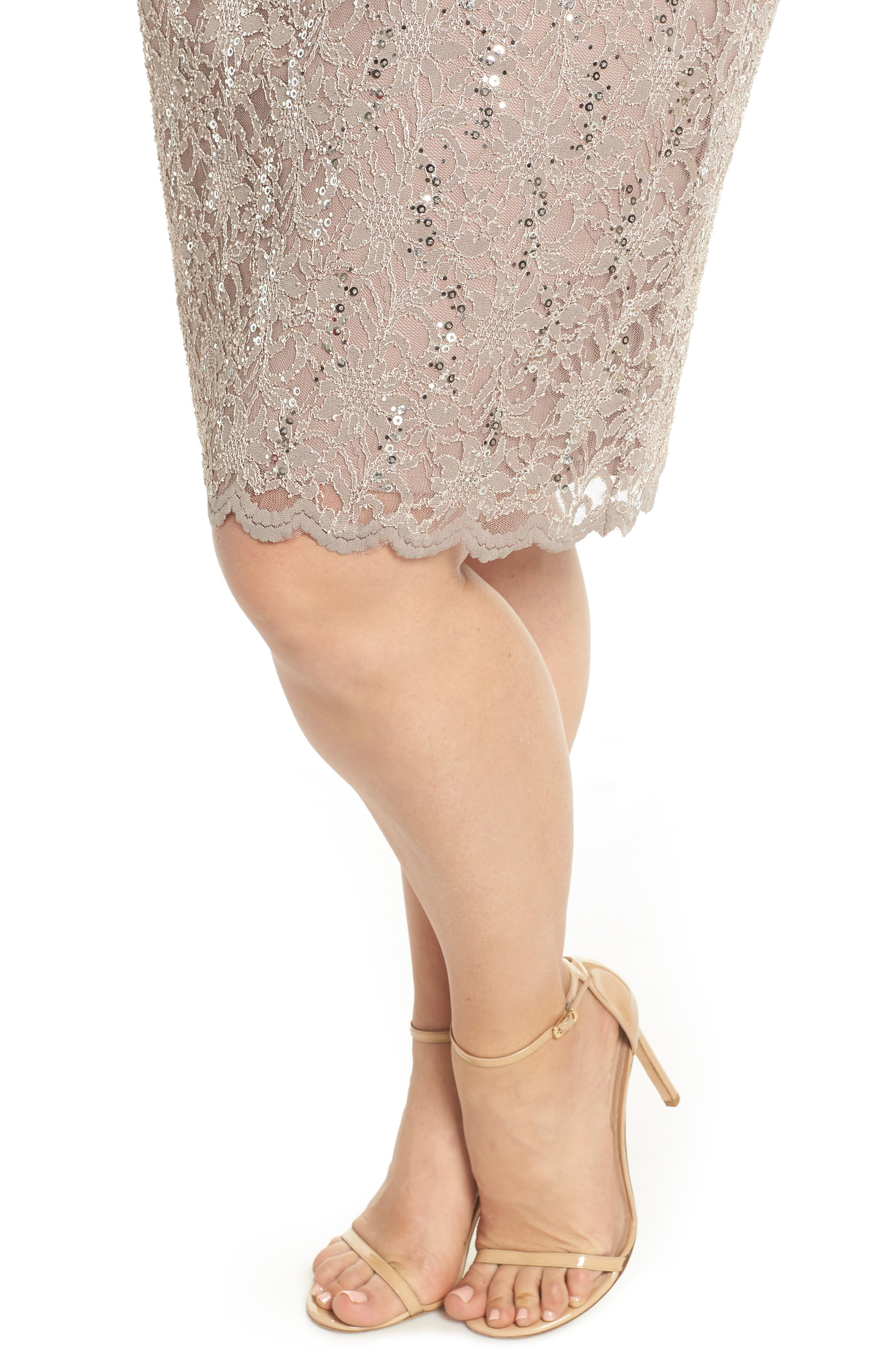 Sequin Stretch Lace Sheath Dress,                             Alternate thumbnail 4, color,                             TAUPE