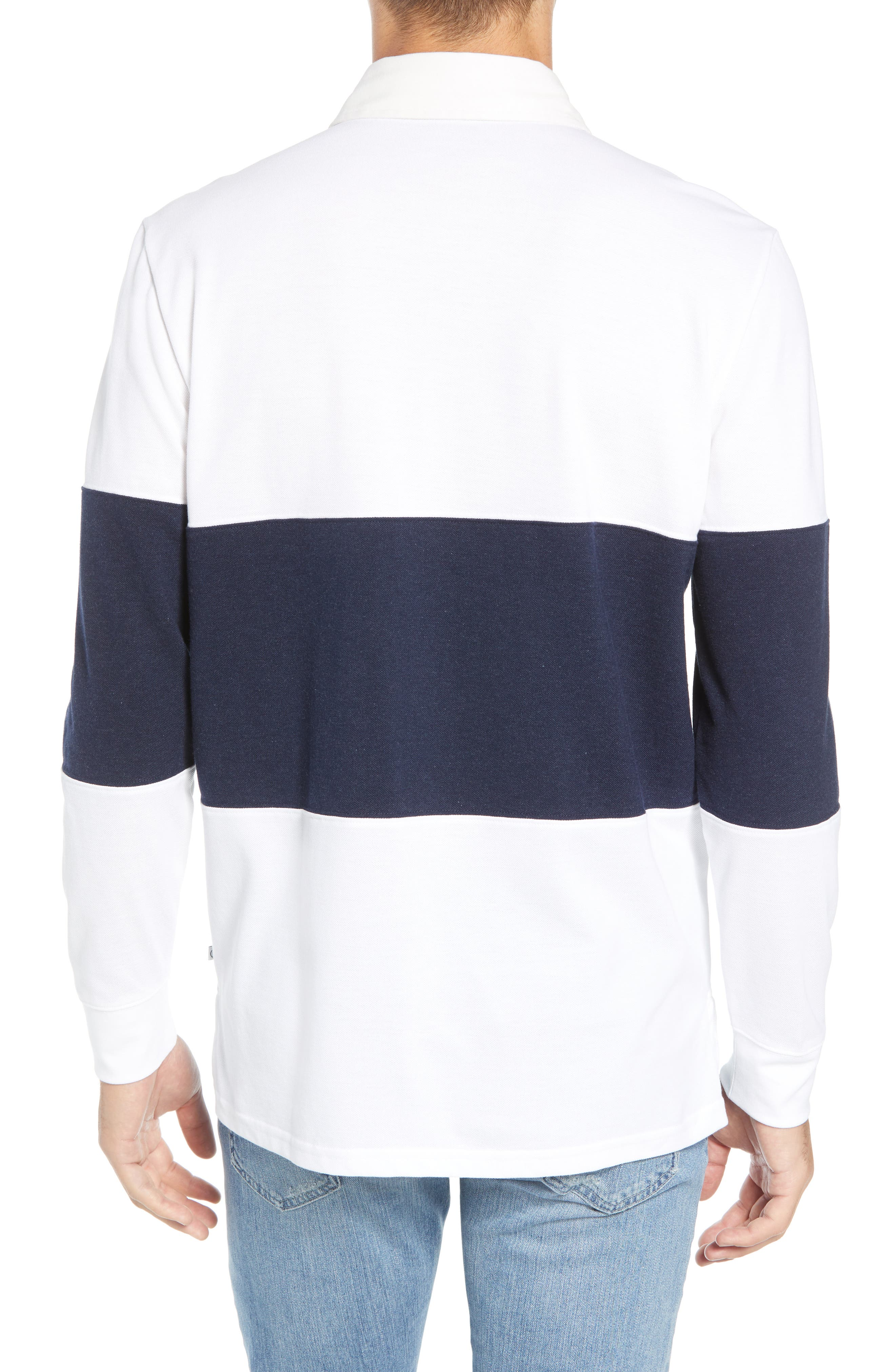 Regular Fit Rugby Piqué Polo,                             Alternate thumbnail 2, color,                             NAVY BLAZER WHITE
