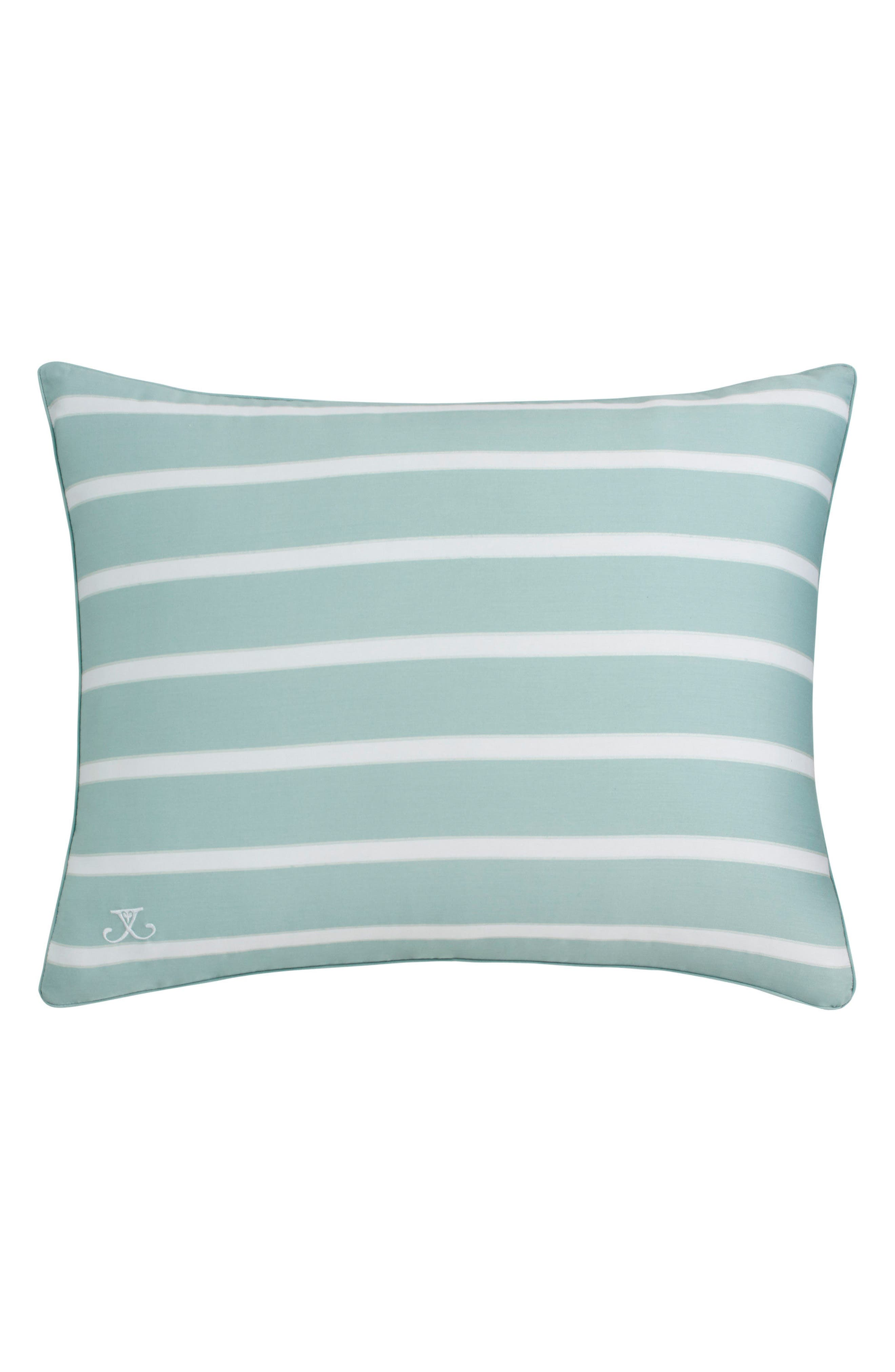 Capri Stripe Standard Sham,                         Main,                         color, SEASIDE AQUA