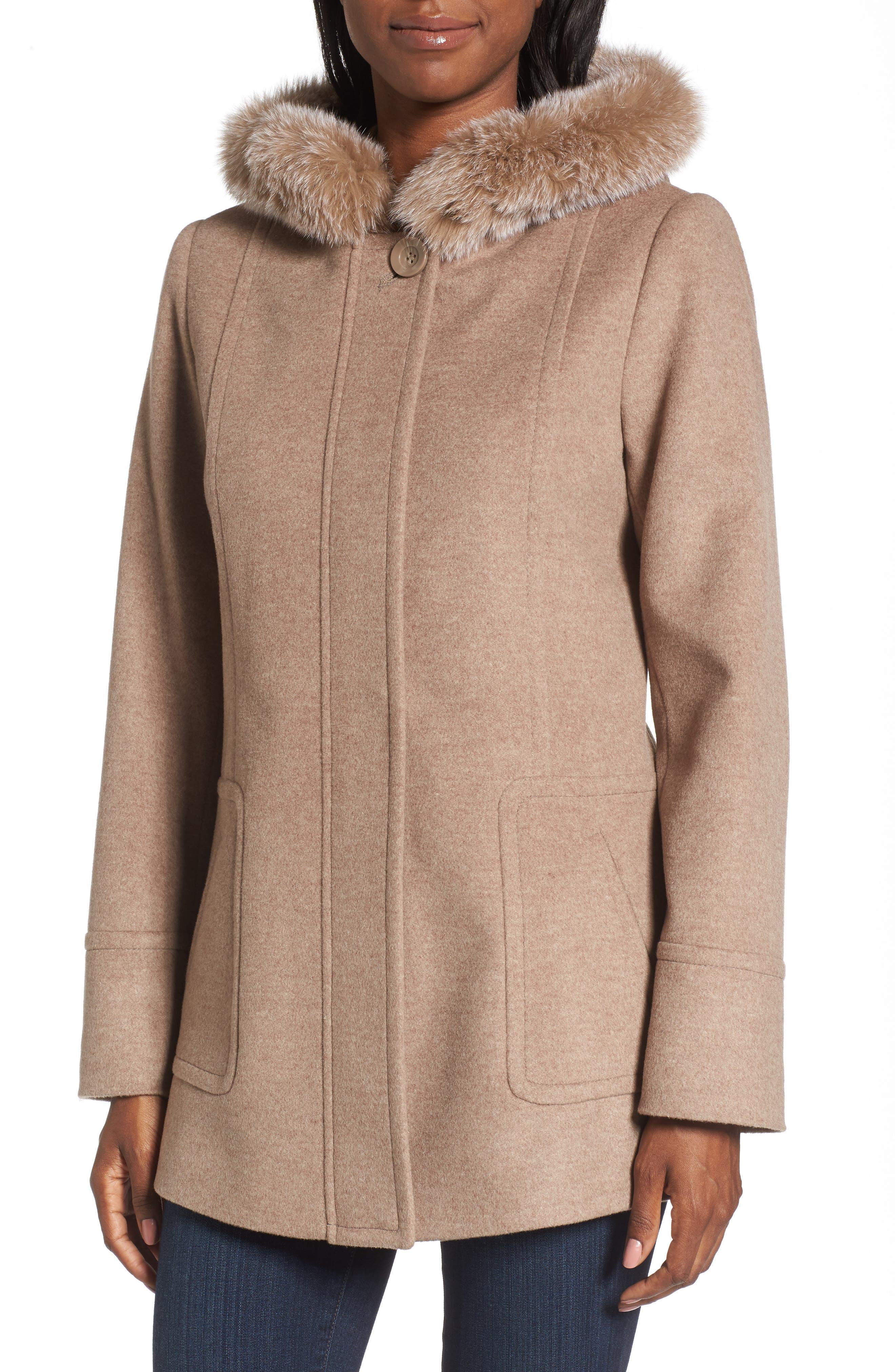 Hooded Wool Blend Coat with Genuine Fox Fur Trim,                             Alternate thumbnail 11, color,