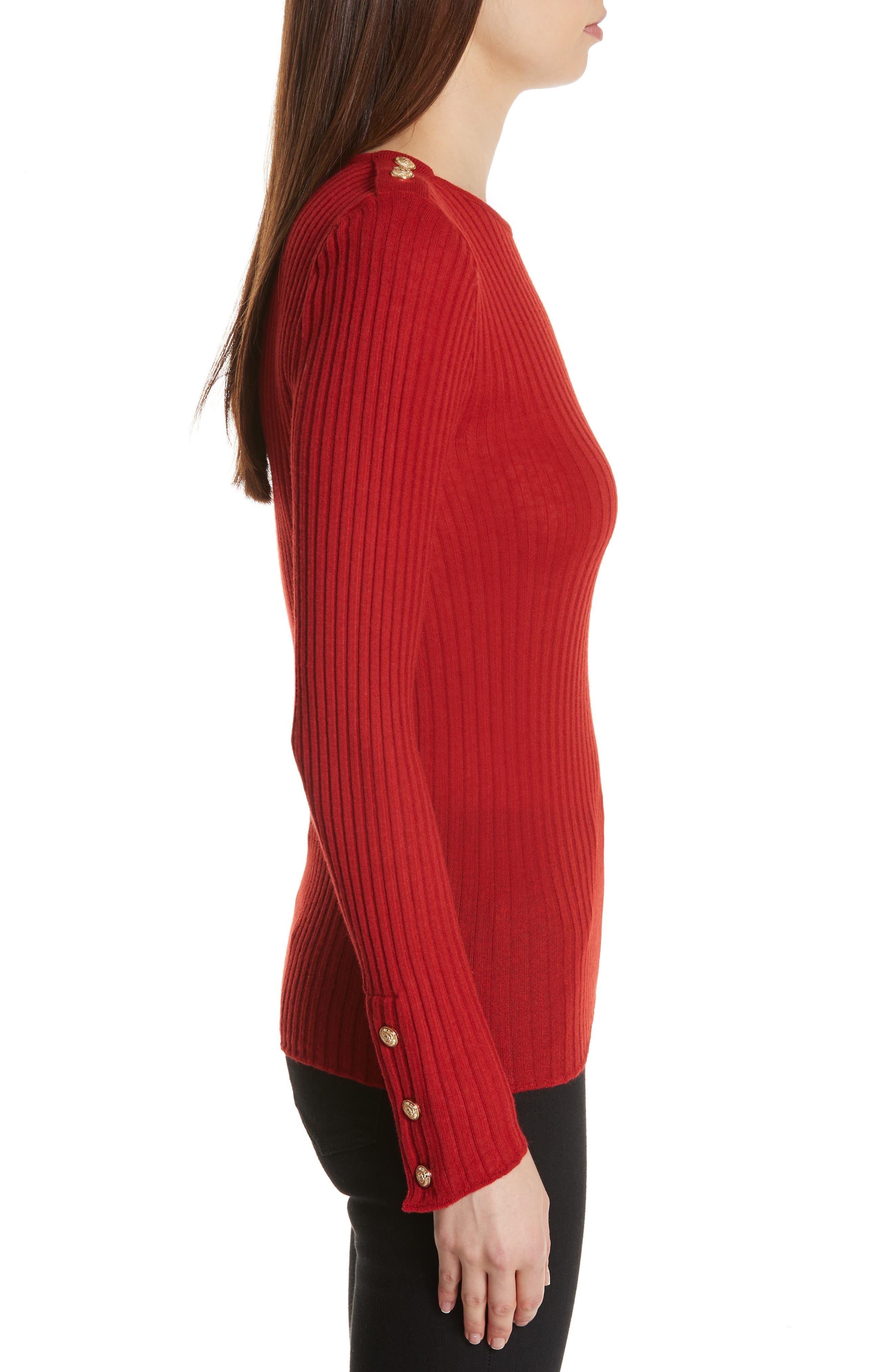 Button Detail Ribbed Sweater,                             Alternate thumbnail 3, color,                             ROUGE