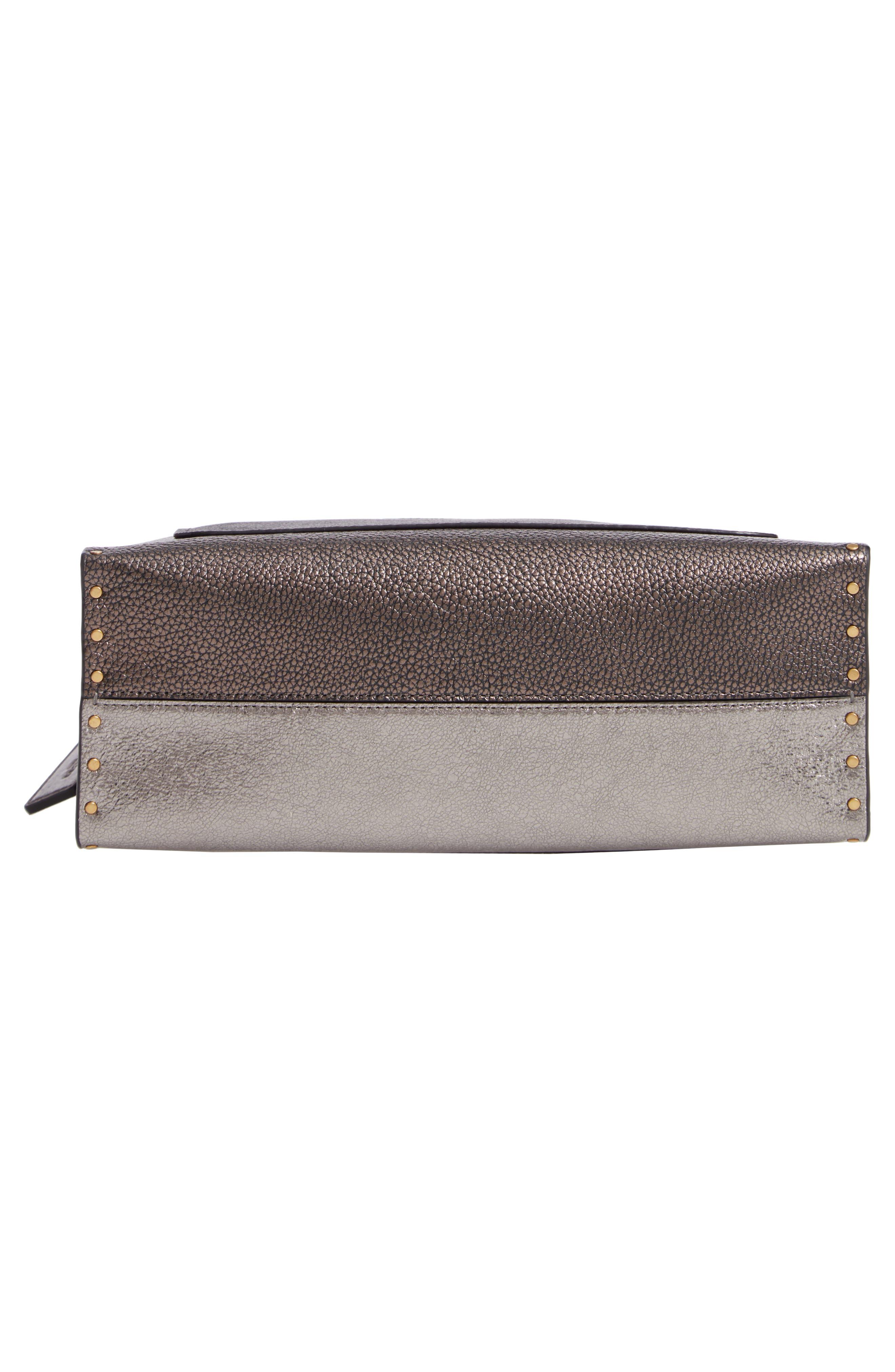 Signature Border Parker Leather & Genuine Snakeskin Shoulder Bag,                             Alternate thumbnail 6, color,                             CHARCOAL METALLIC GRAPHITE