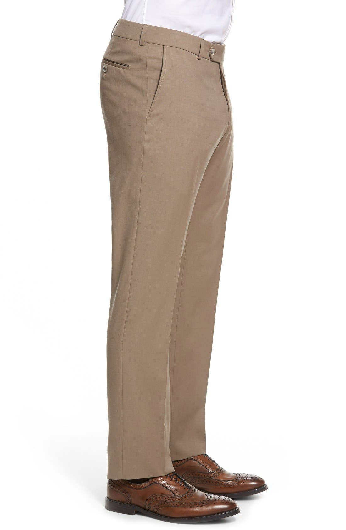 Flat Front Solid Wool Trousers,                             Alternate thumbnail 53, color,