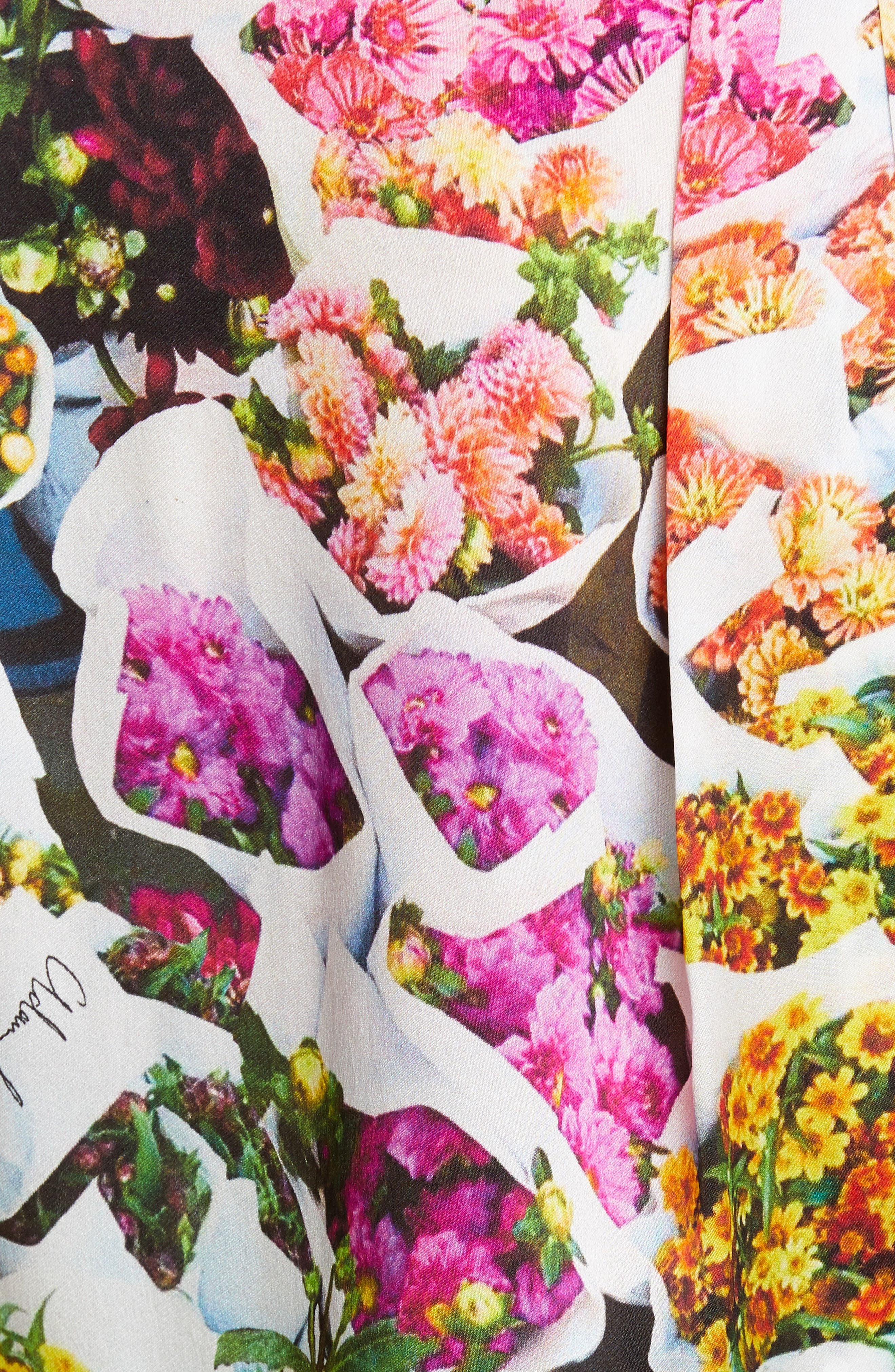 ADAM LIPPES,                             Floral Print Satin Top,                             Alternate thumbnail 5, color,                             FLORAL MULTI
