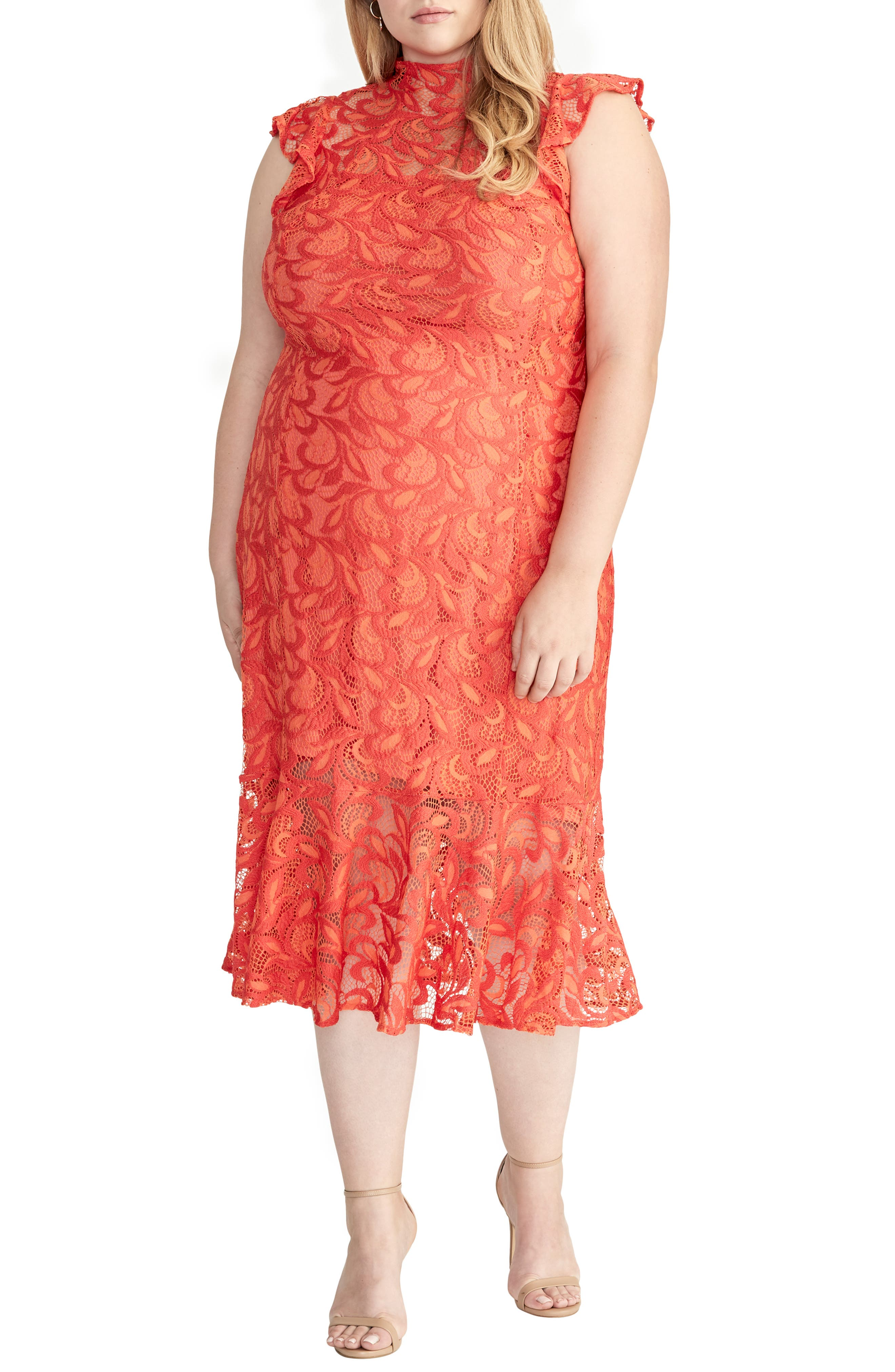 Plus Size Rachel Rachel Roy Flounced Lace Midi Dress, Red