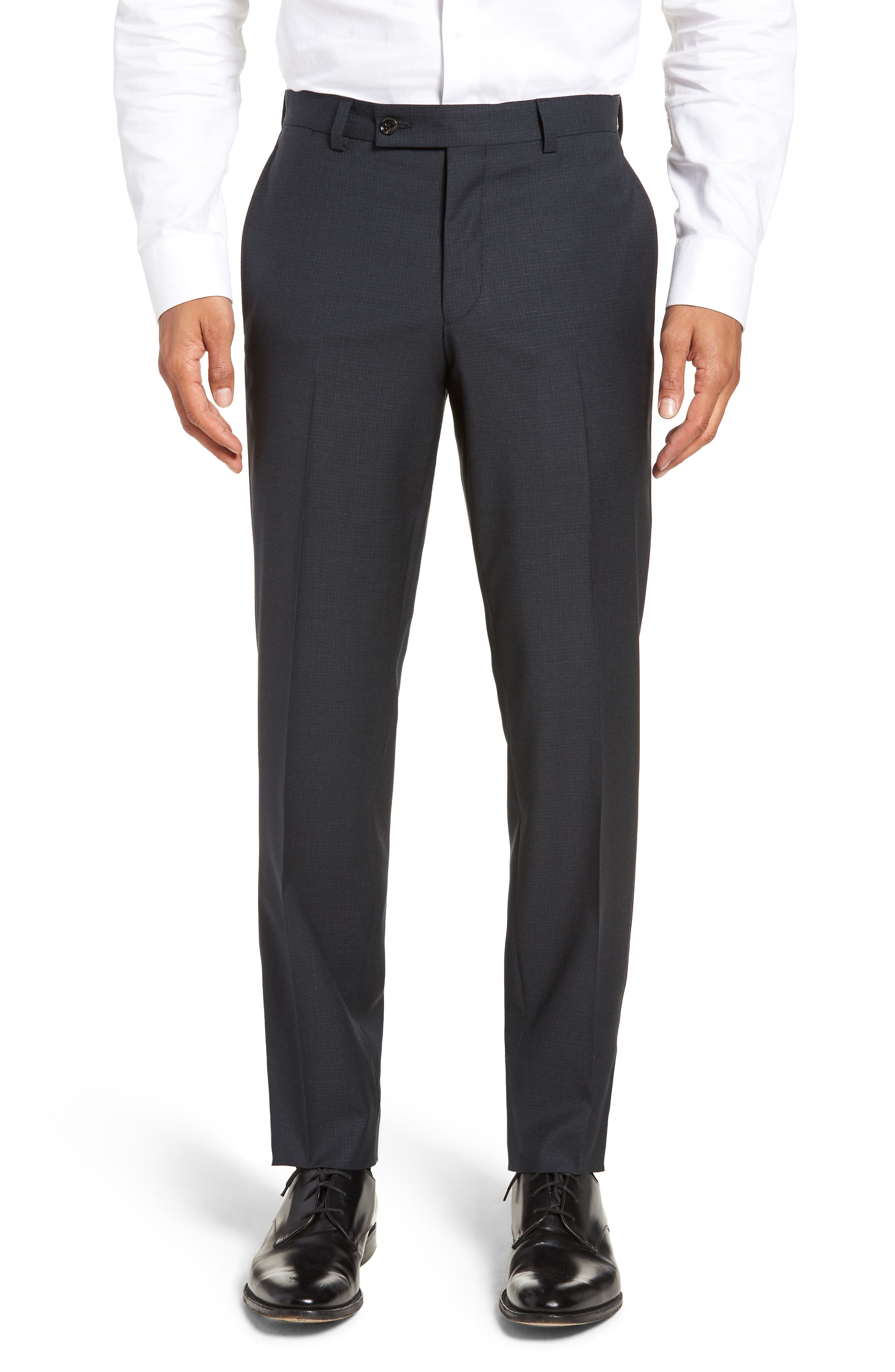 Jefferson Flat Front Check Wool Trousers,                             Main thumbnail 1, color,                             GREY