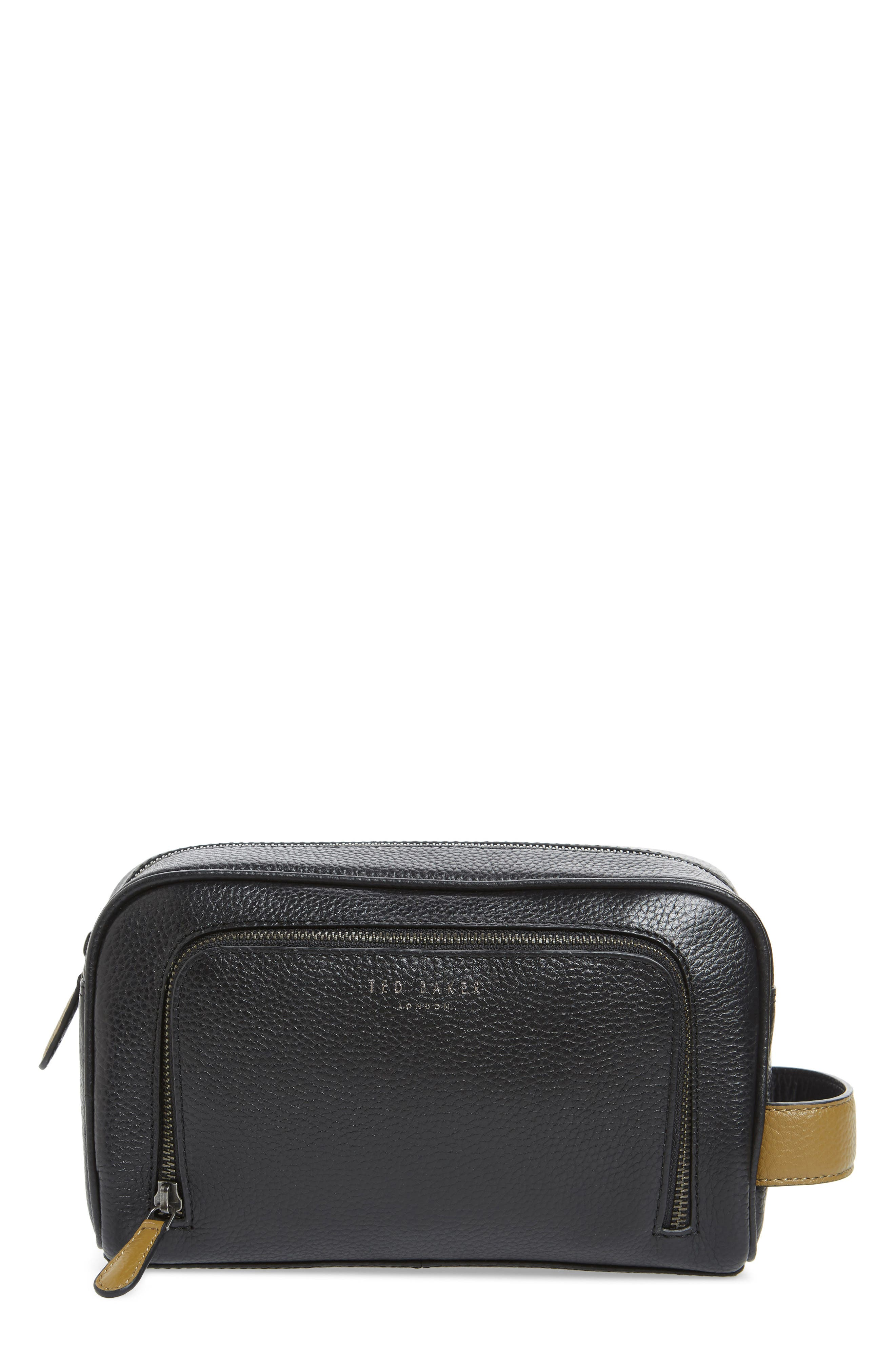 TED BAKER LONDON Soaps Leather Dopp Kit, Main, color, 001