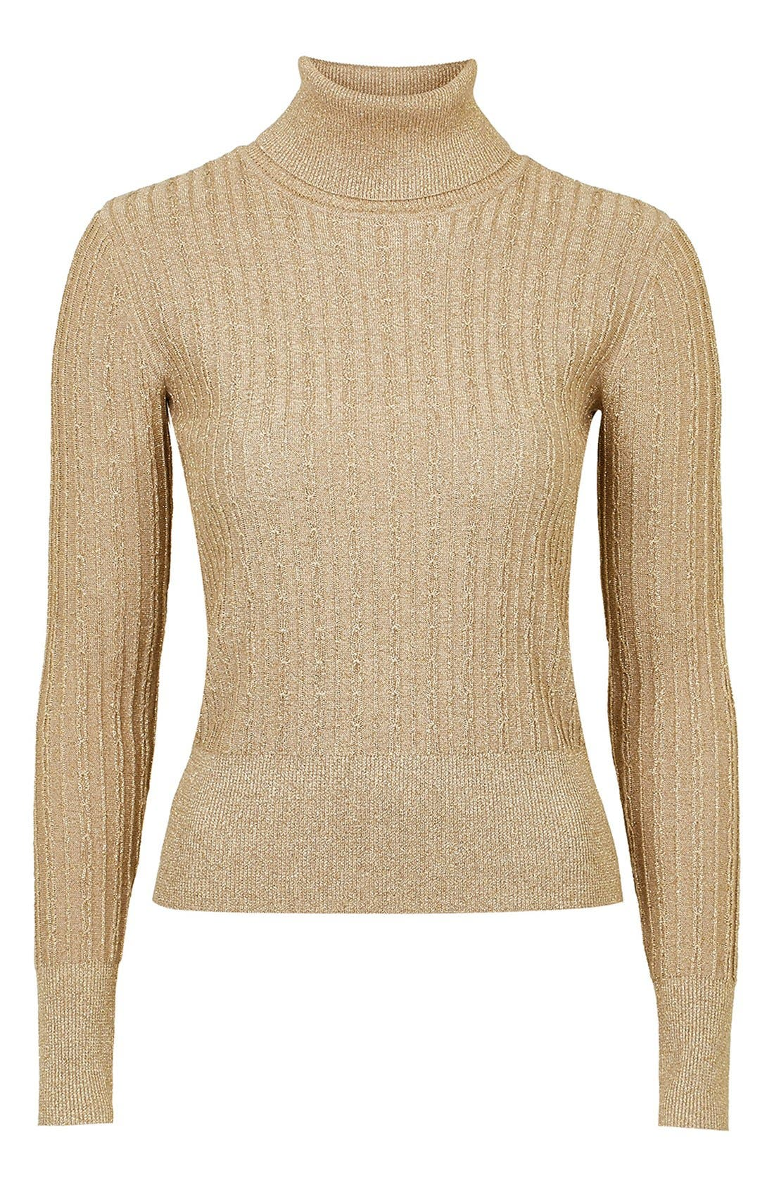 TopshopUnique 'Huntly' Turtleneck Sweater,                             Alternate thumbnail 4, color,                             710