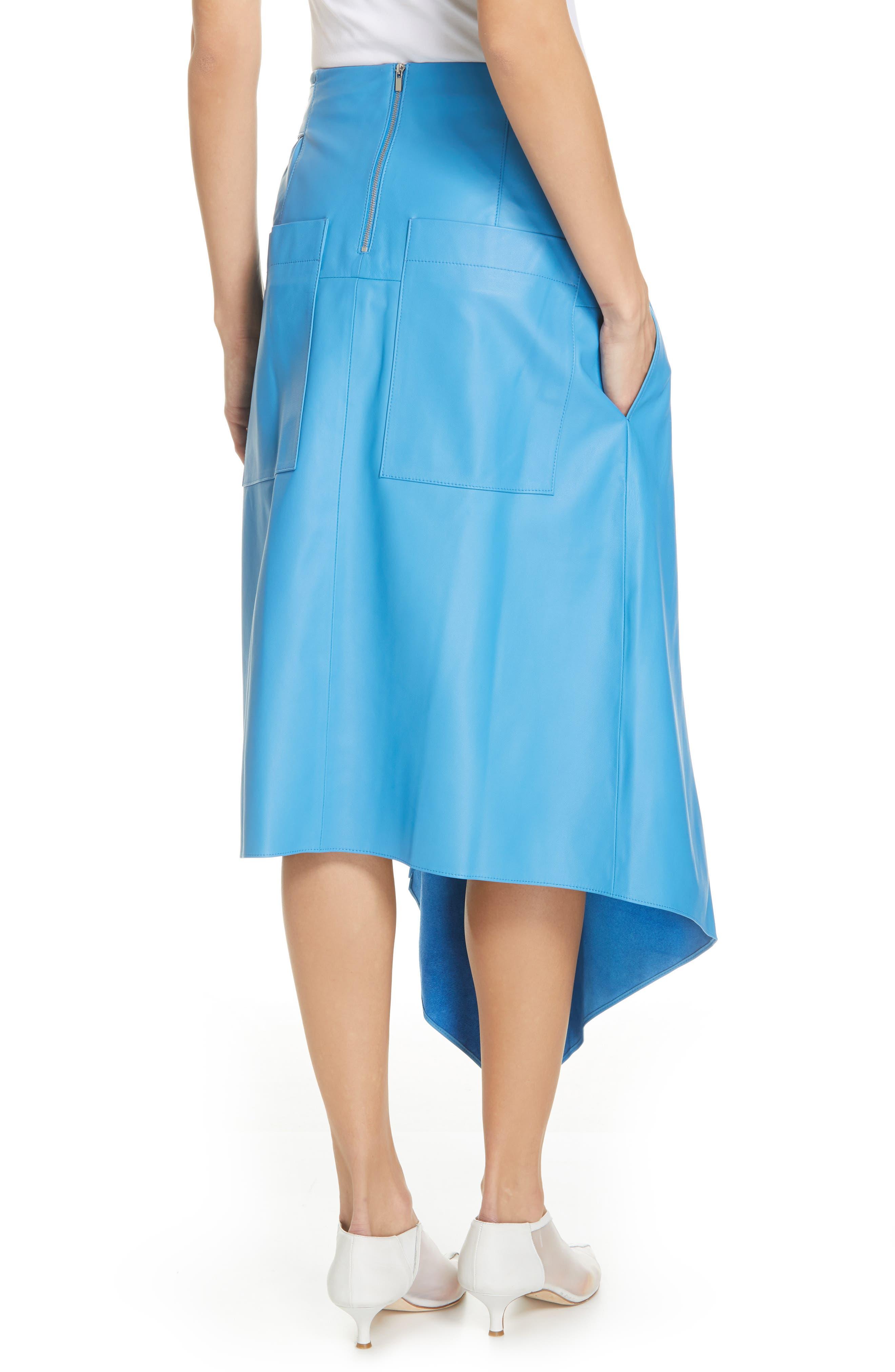 TIBI,                             Asymmetrical Drape Tissue Leather Skirt,                             Alternate thumbnail 2, color,                             OCEAN BLUE