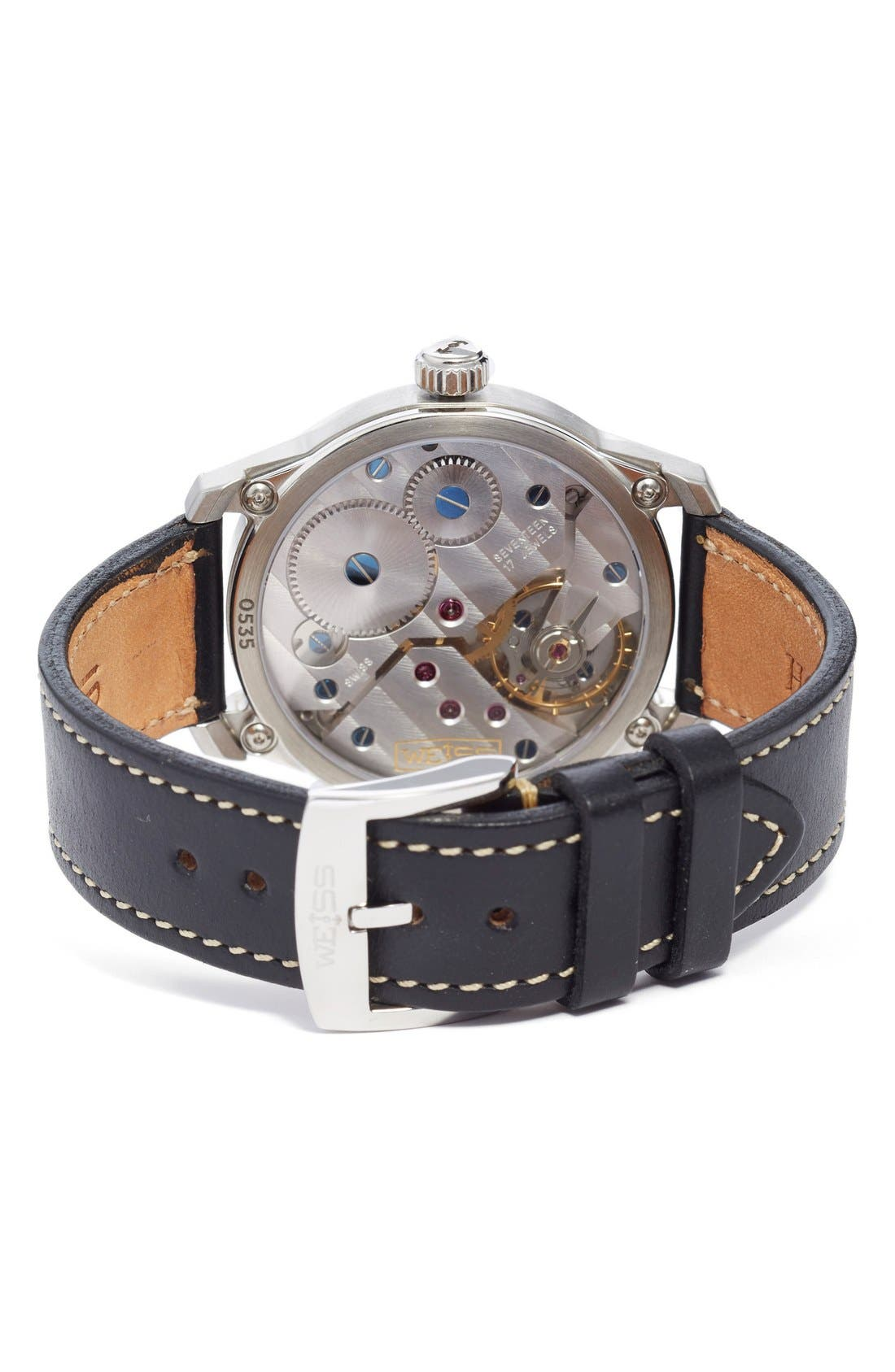 'Standard Issue' Leather Strap Watch, 42mm,                             Alternate thumbnail 4, color,                             001