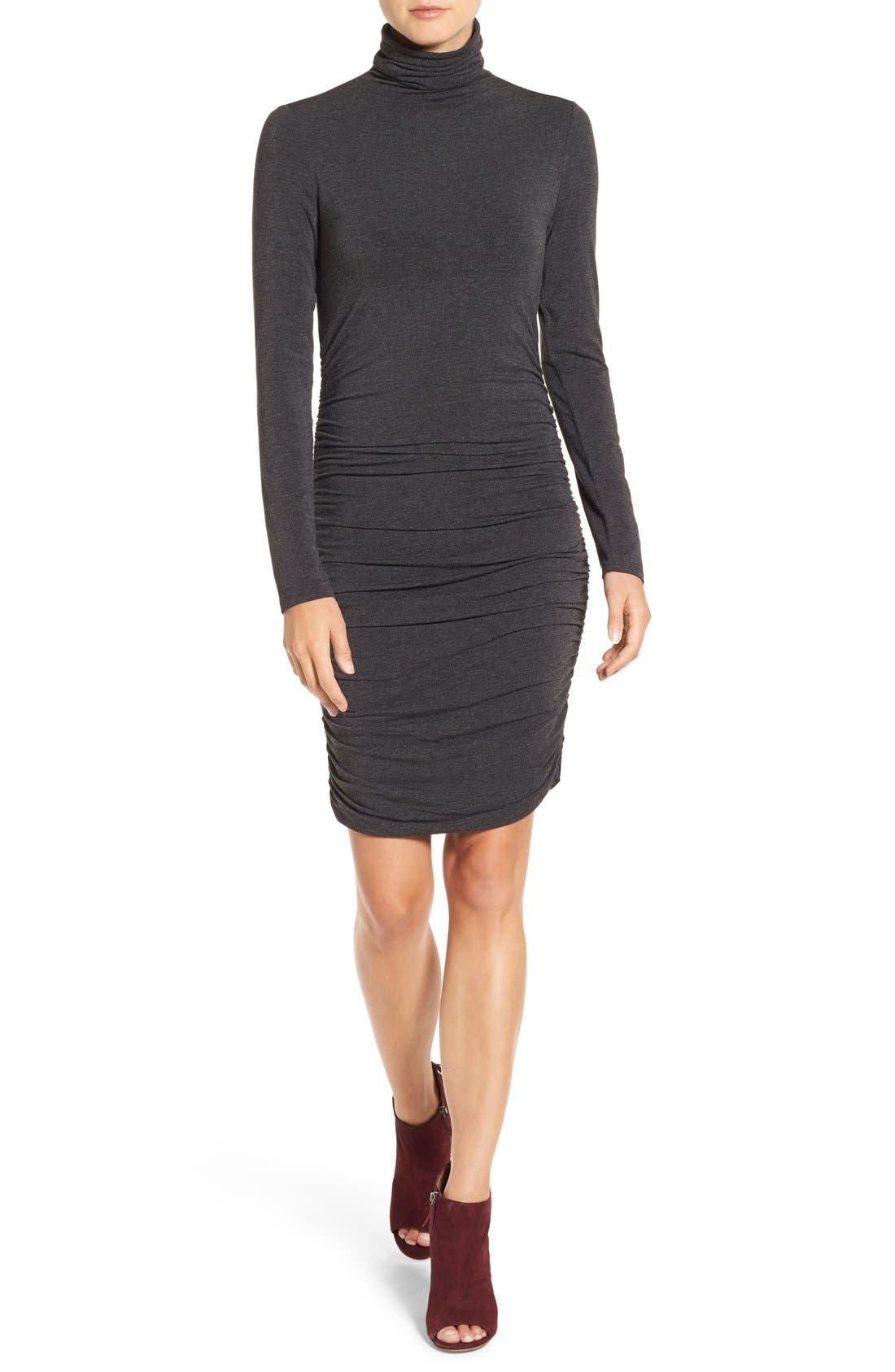 Side Ruched Turtleneck Dress,                             Main thumbnail 3, color,