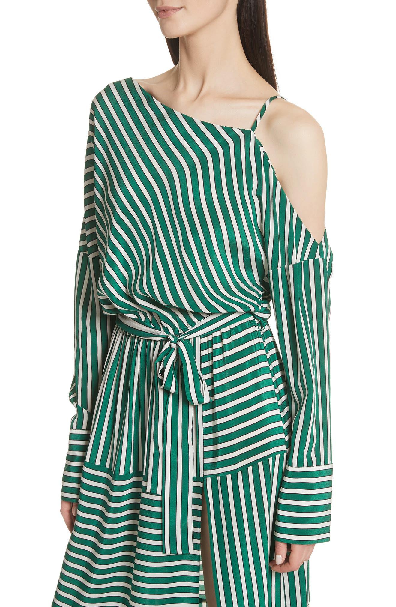Stripe Silk Cold Shoulder Dress,                             Alternate thumbnail 4, color,                             300