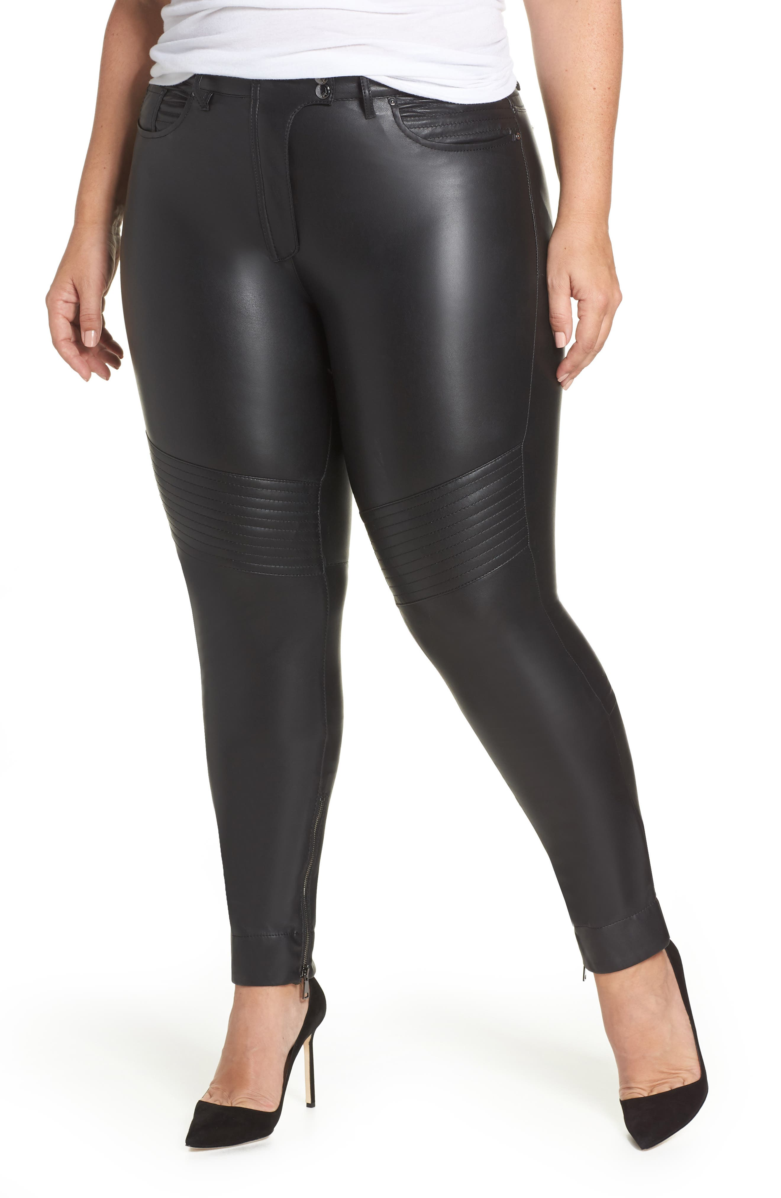 ASHLEY GRAHAM X MARINA RINALDI Richi Faux Leather Pants in Black 2