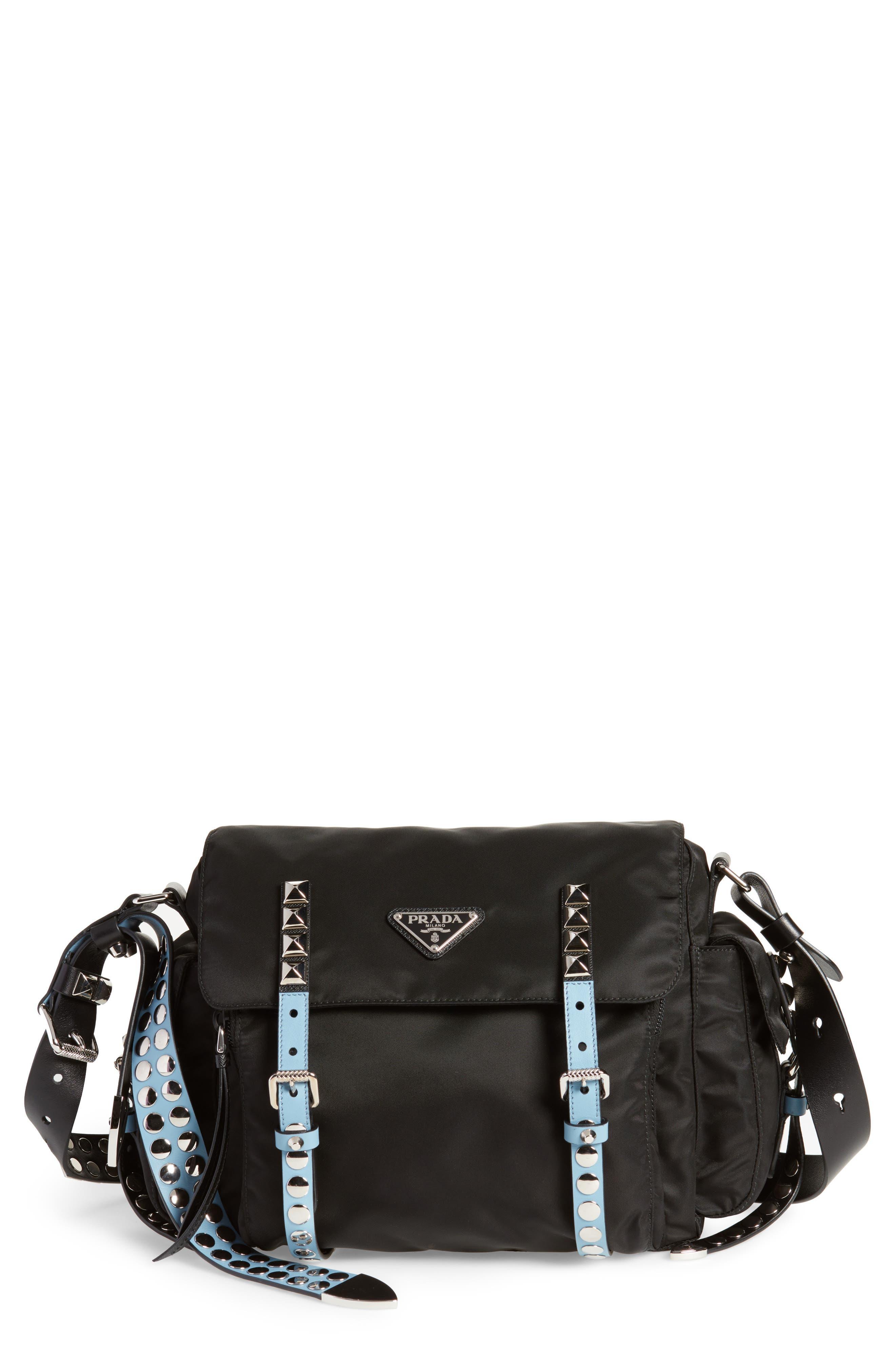 Studded Nylon Messenger Bag,                         Main,                         color, NERO/ ASTRALE