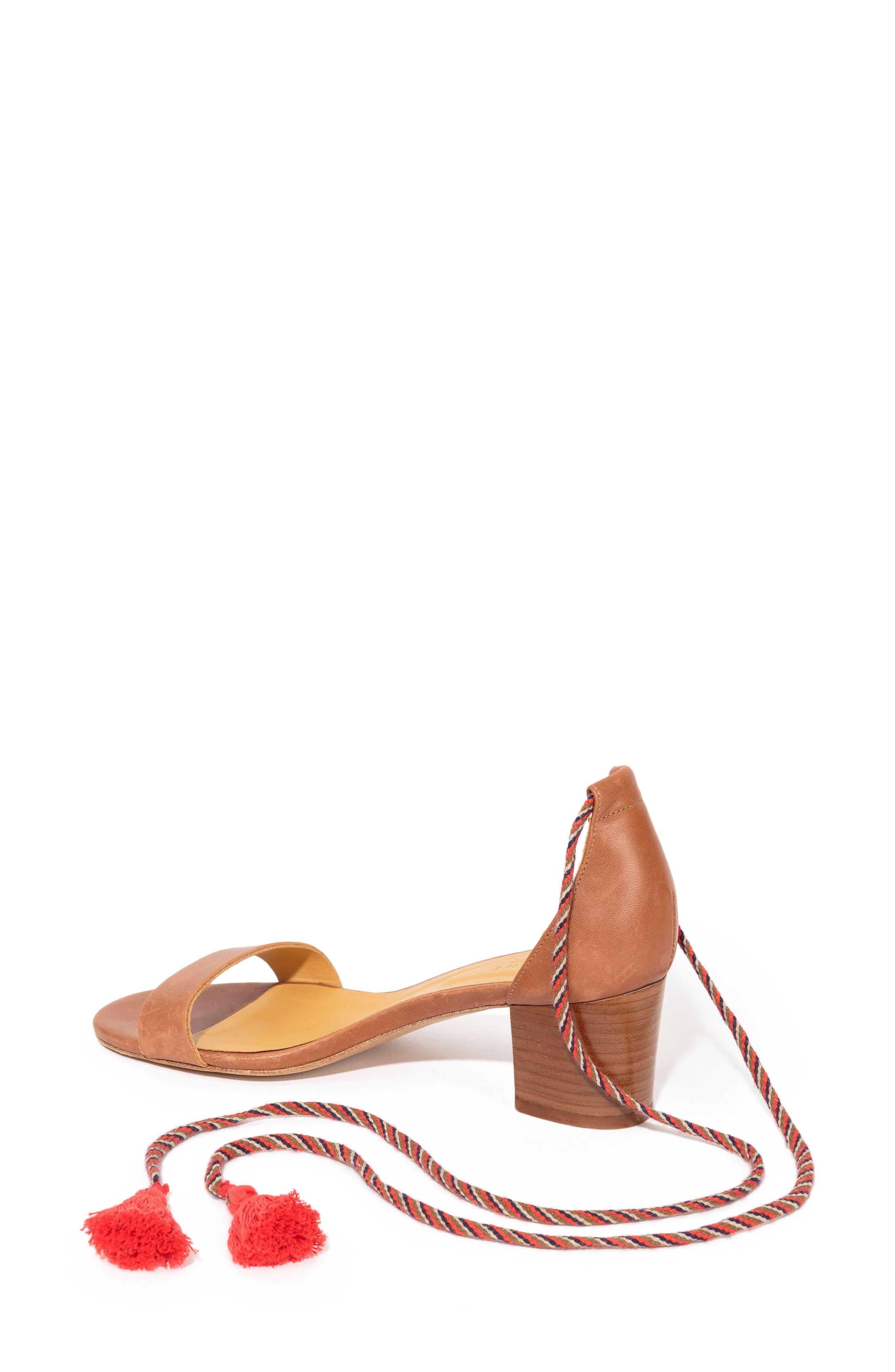 Lorenzo Ankle Wrap Block Heel Sandal,                             Alternate thumbnail 2, color,                             CAMEL LEATHER