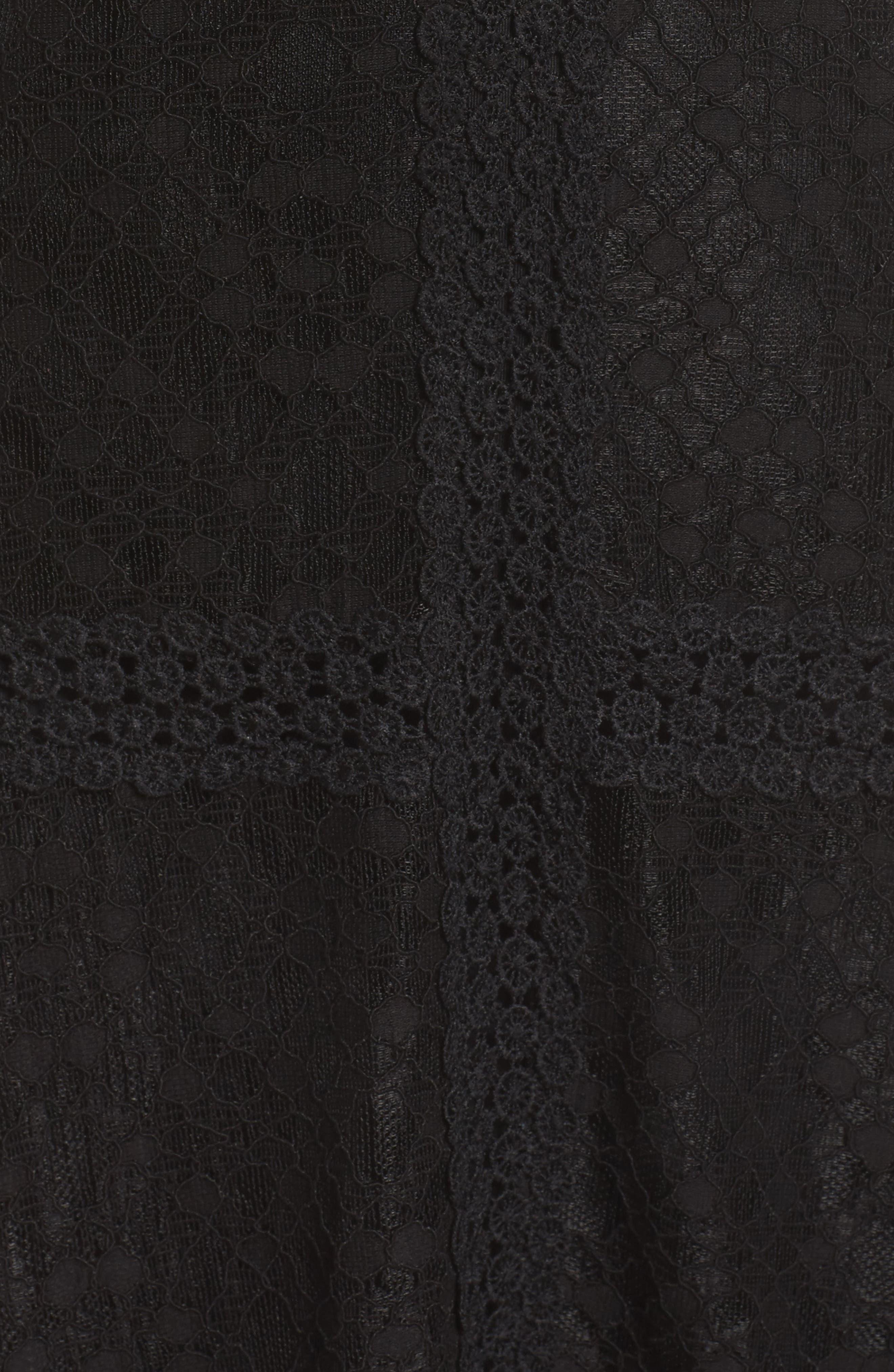 Angelisa Lace Midi Dress,                             Alternate thumbnail 6, color,                             BLACK