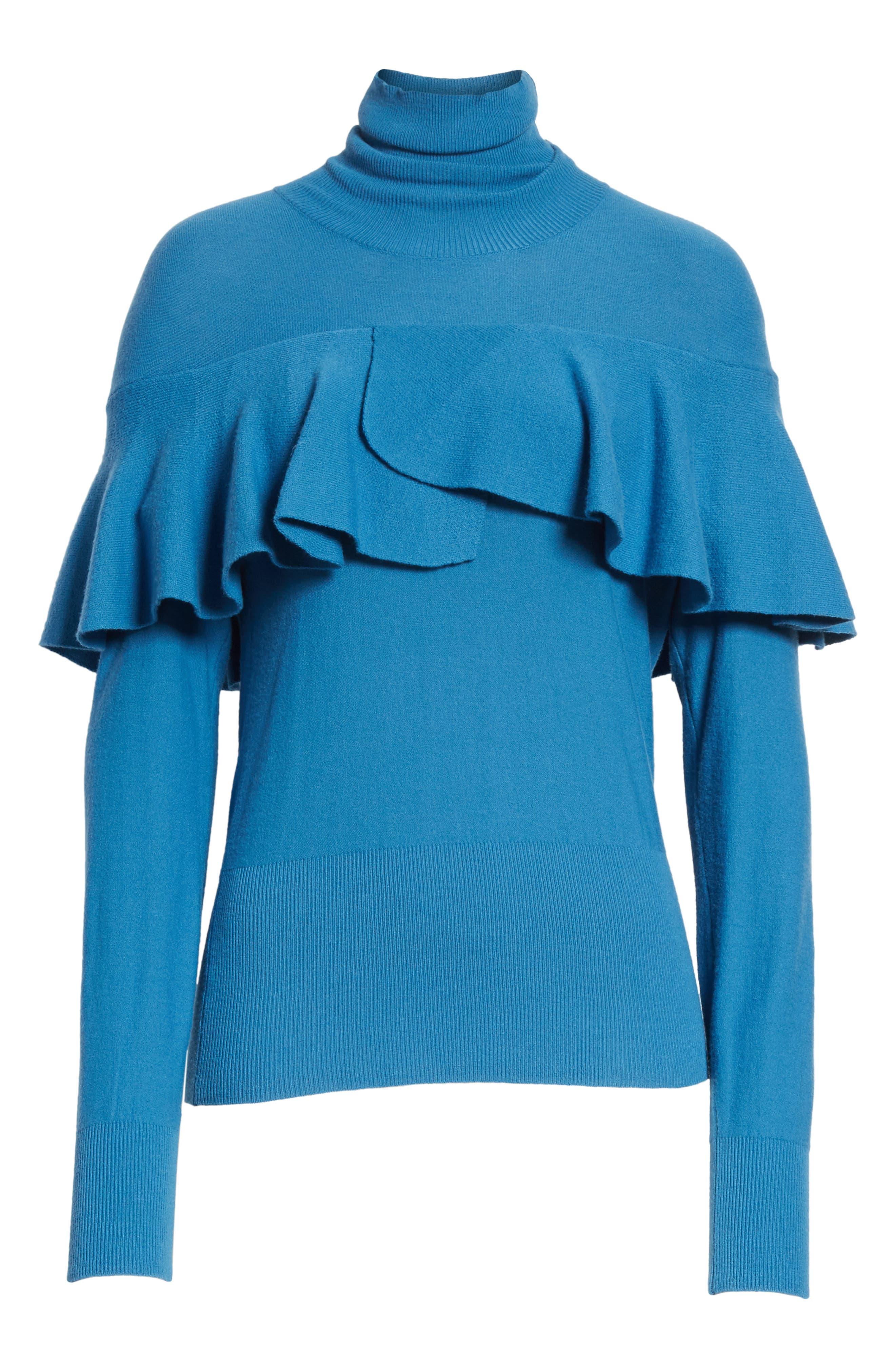 Flounced Turtleneck Sweater,                             Alternate thumbnail 6, color,                             487