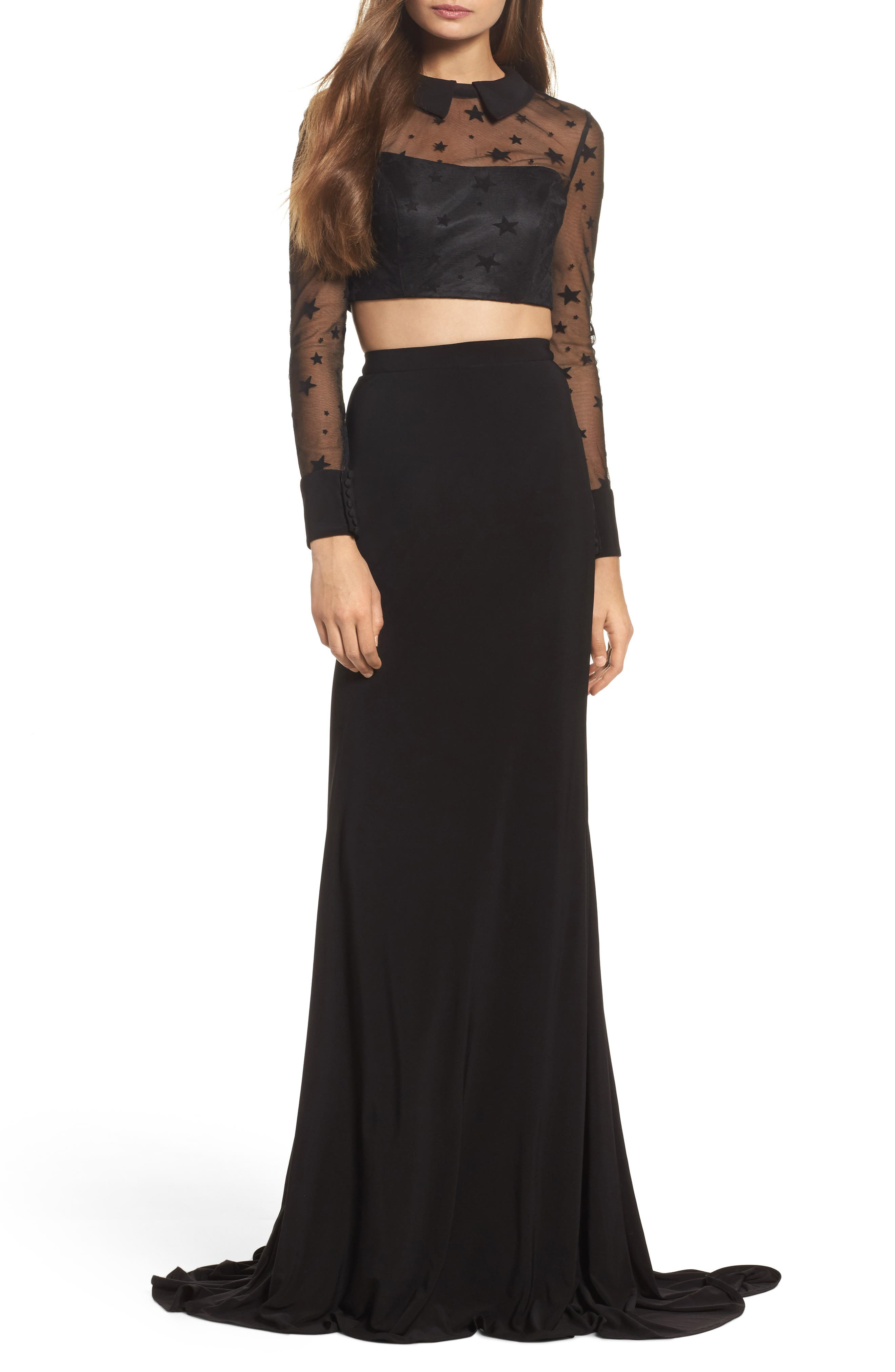 Star Mesh Two-Piece Gown,                             Main thumbnail 1, color,                             BLACK