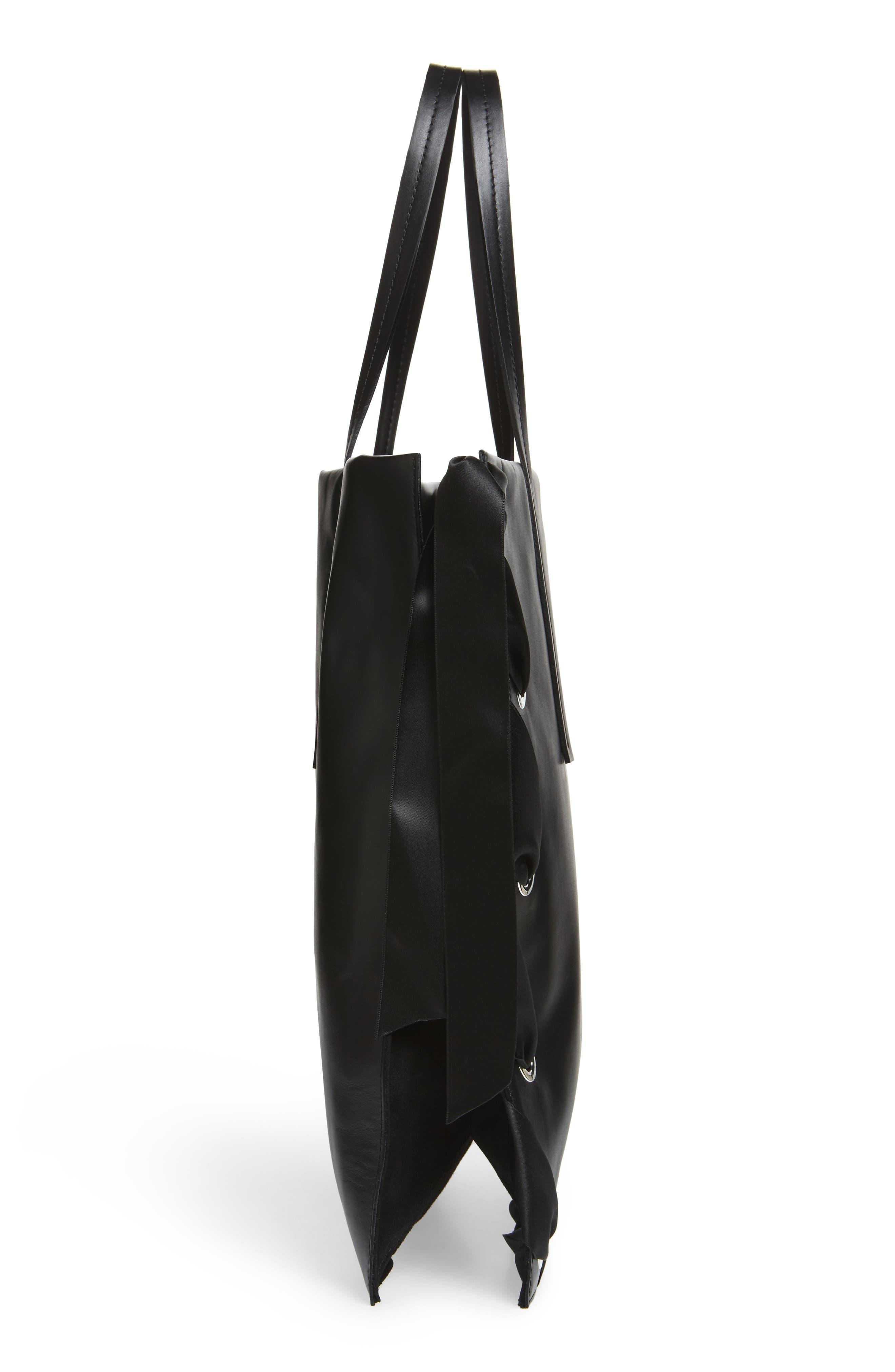 Premium Leather Grace Tote Bag,                             Alternate thumbnail 5, color,                             001
