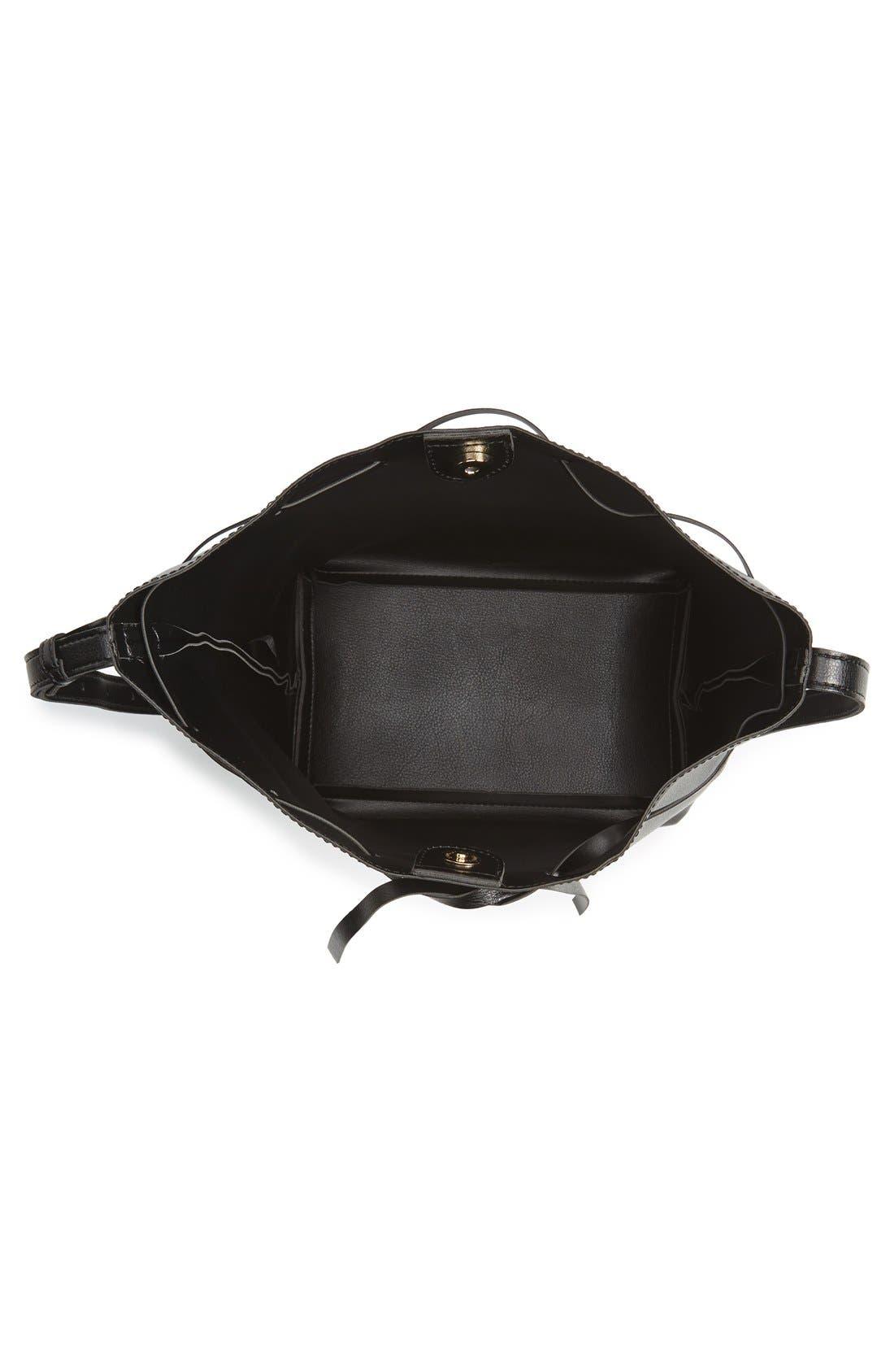 SOLE SOCIETY,                             'Blackwood' Faux Leather Bucket Bag,                             Alternate thumbnail 4, color,                             001