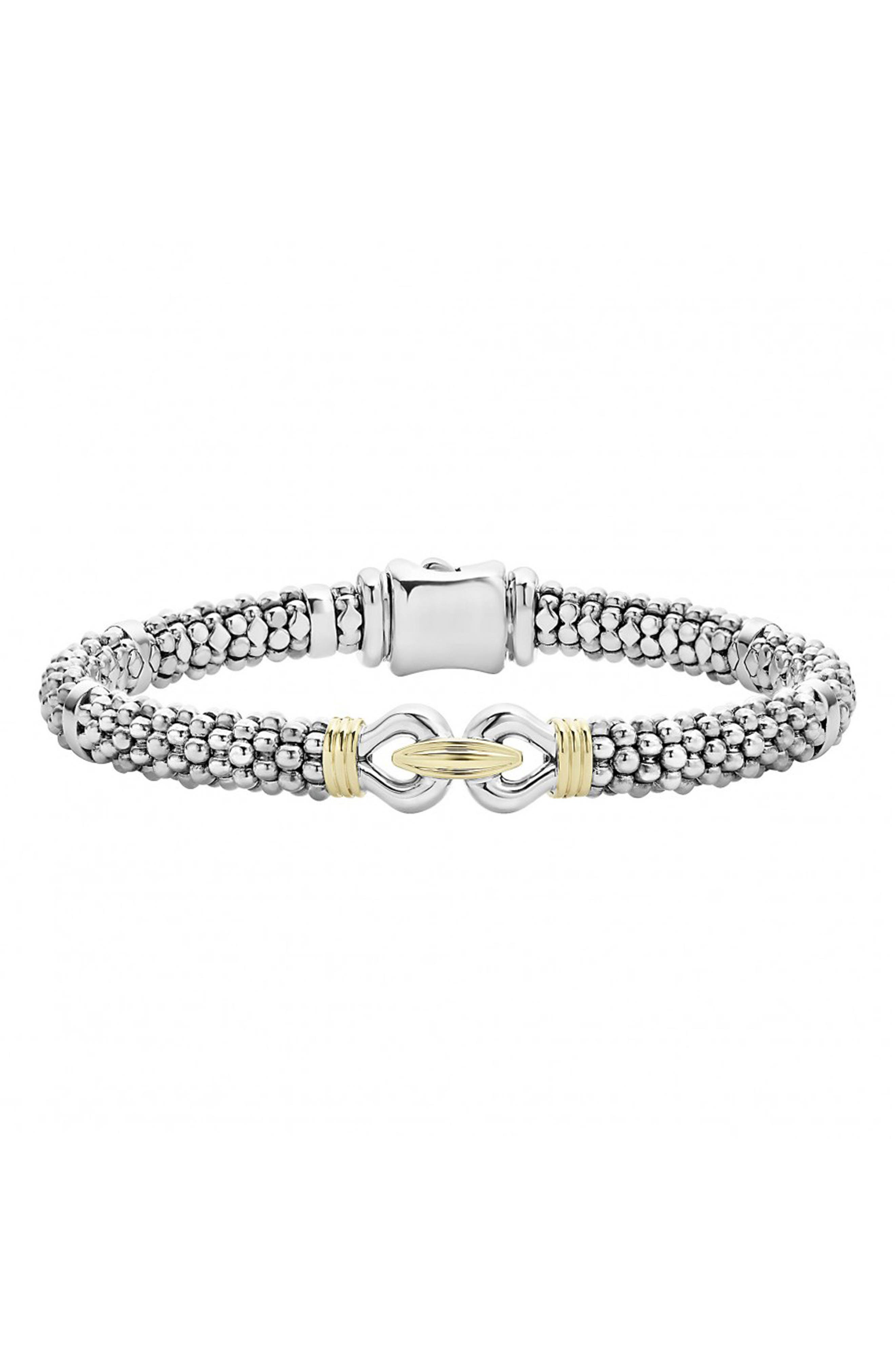 'Derby' Fluted Two Tone Rope Bracelet,                         Main,                         color, SILVER/ GOLD