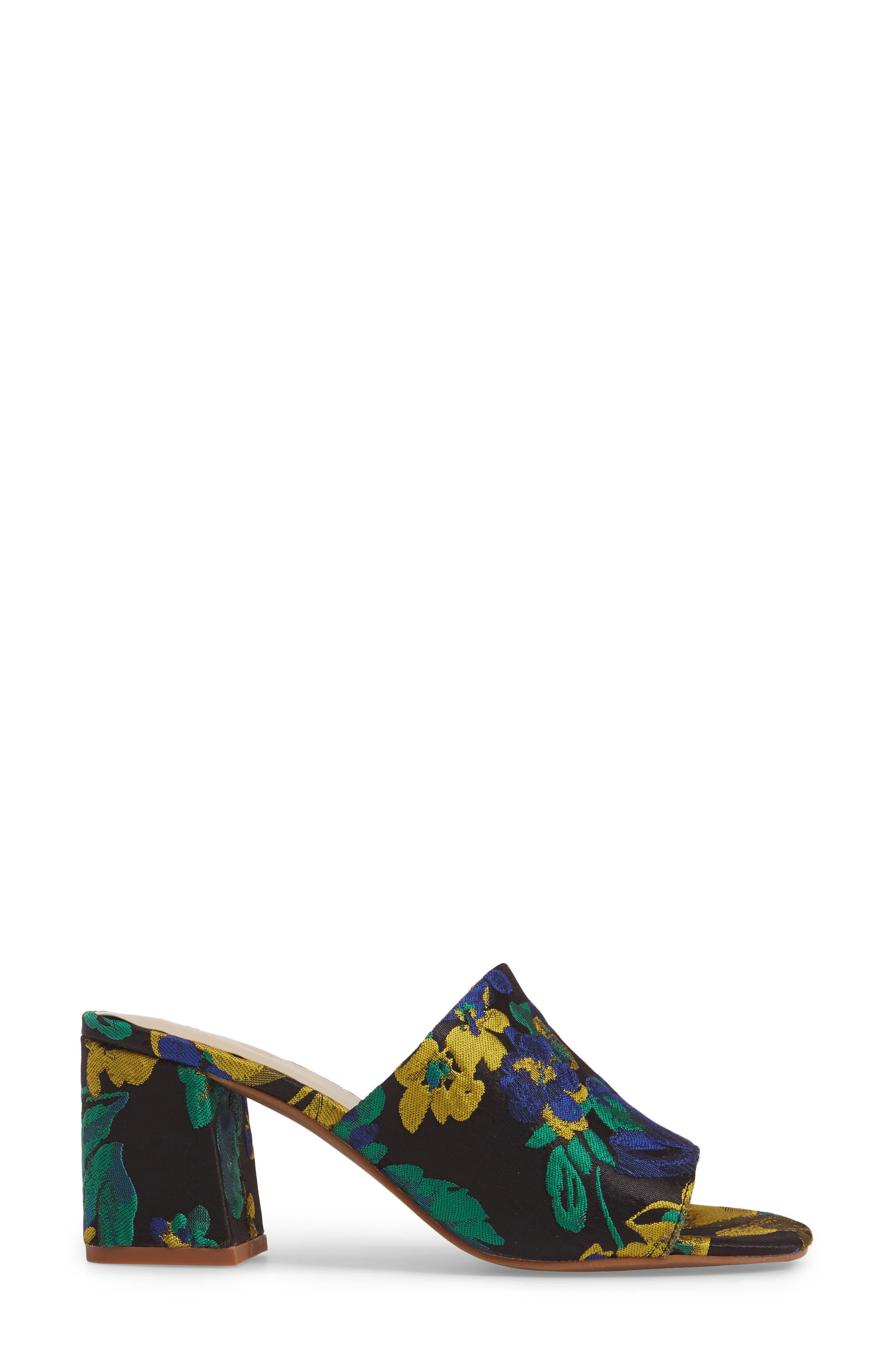 Commute Floral Flared Heel Sandal,                             Alternate thumbnail 3, color,                             002