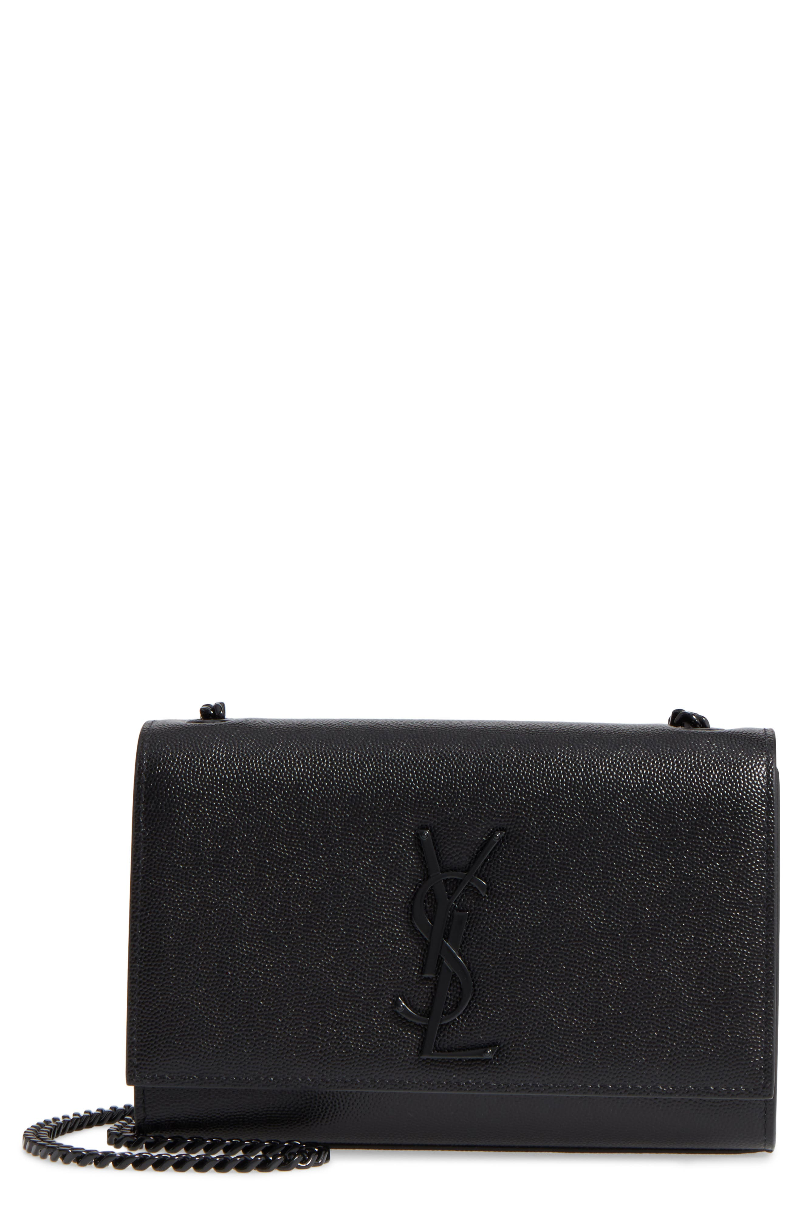 Small Kate Leather Shoulder Bag,                             Main thumbnail 1, color,                             BLACK
