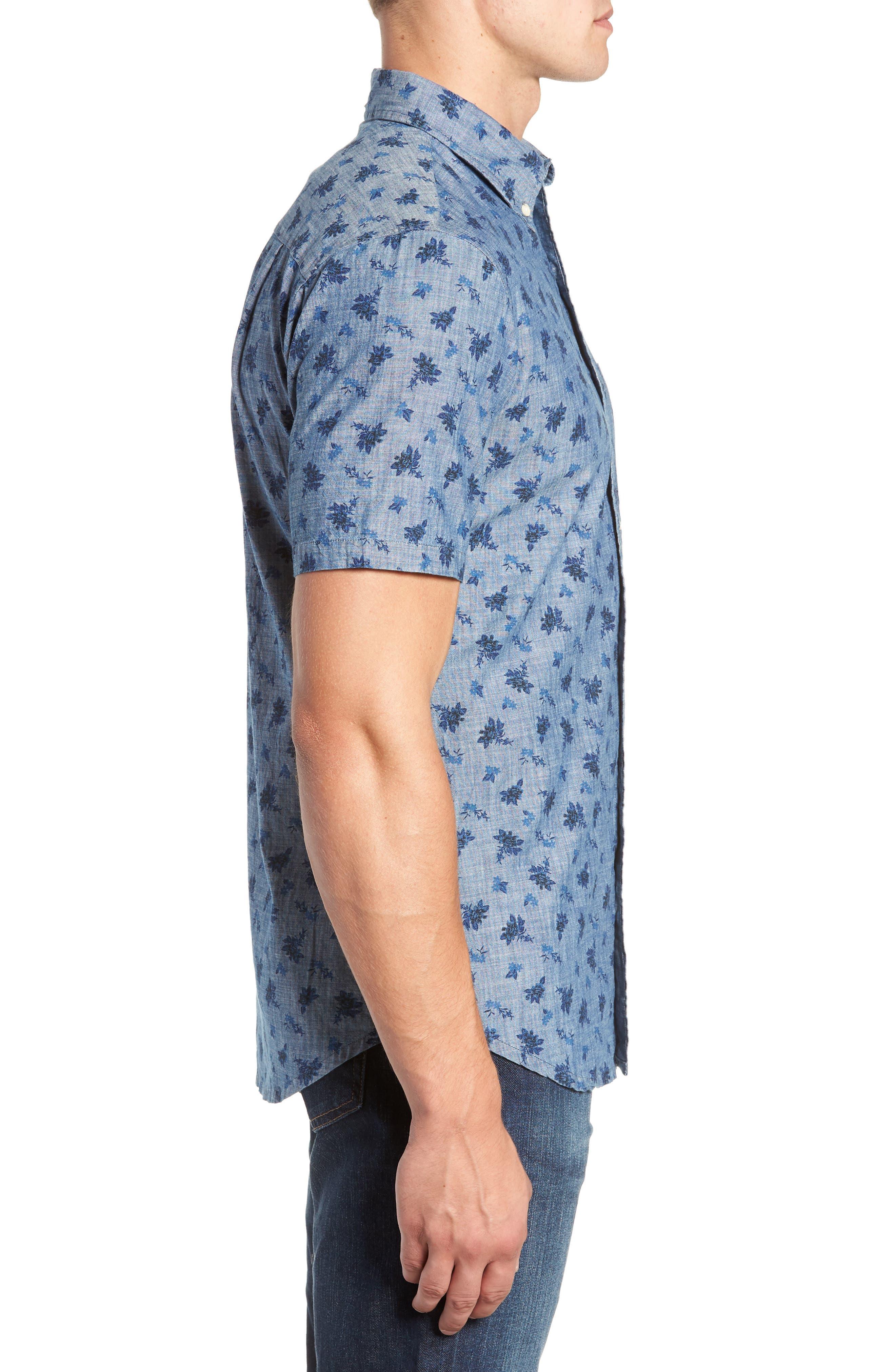 Floral Chambray Regular Fit Sport Shirt,                             Alternate thumbnail 4, color,                             BLUE