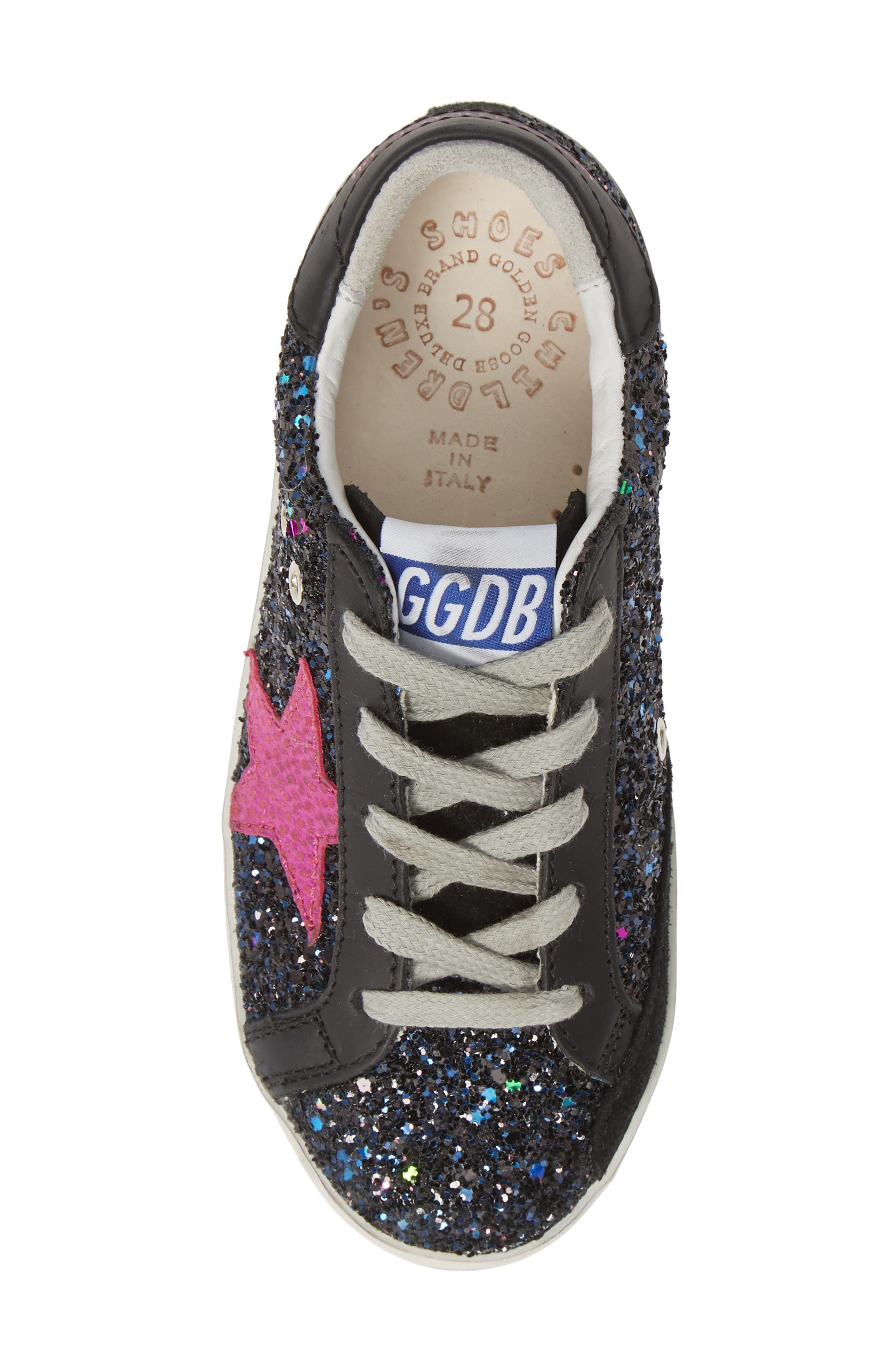 GOLDEN GOOSE,                             Superstar Glitter Low Top Sneaker,                             Alternate thumbnail 5, color,                             GALAXY GLITTER/ FUCHSIA STAR