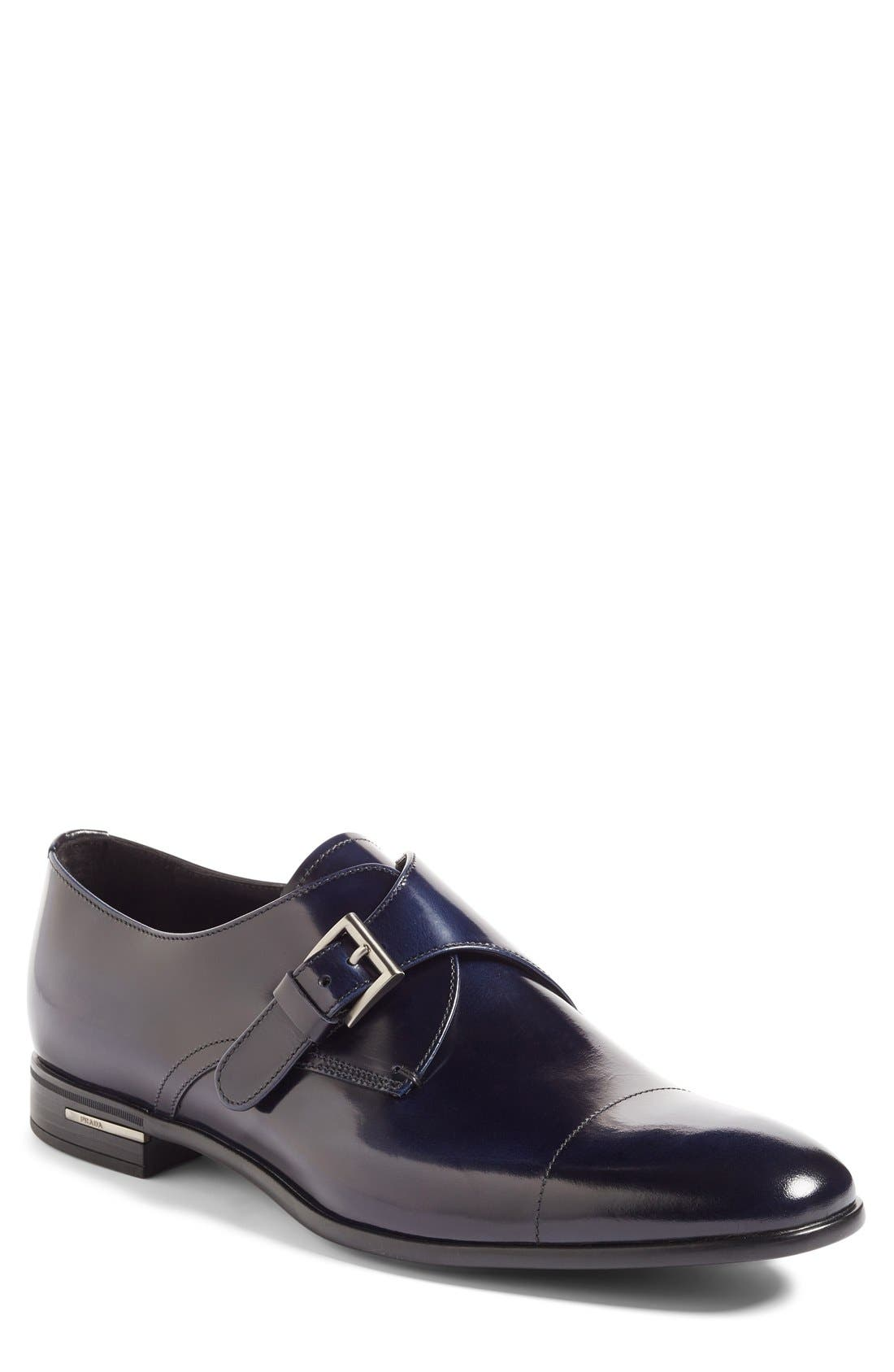 PRADA Monk Strap Shoe, Main, color, BLUE LEATHER
