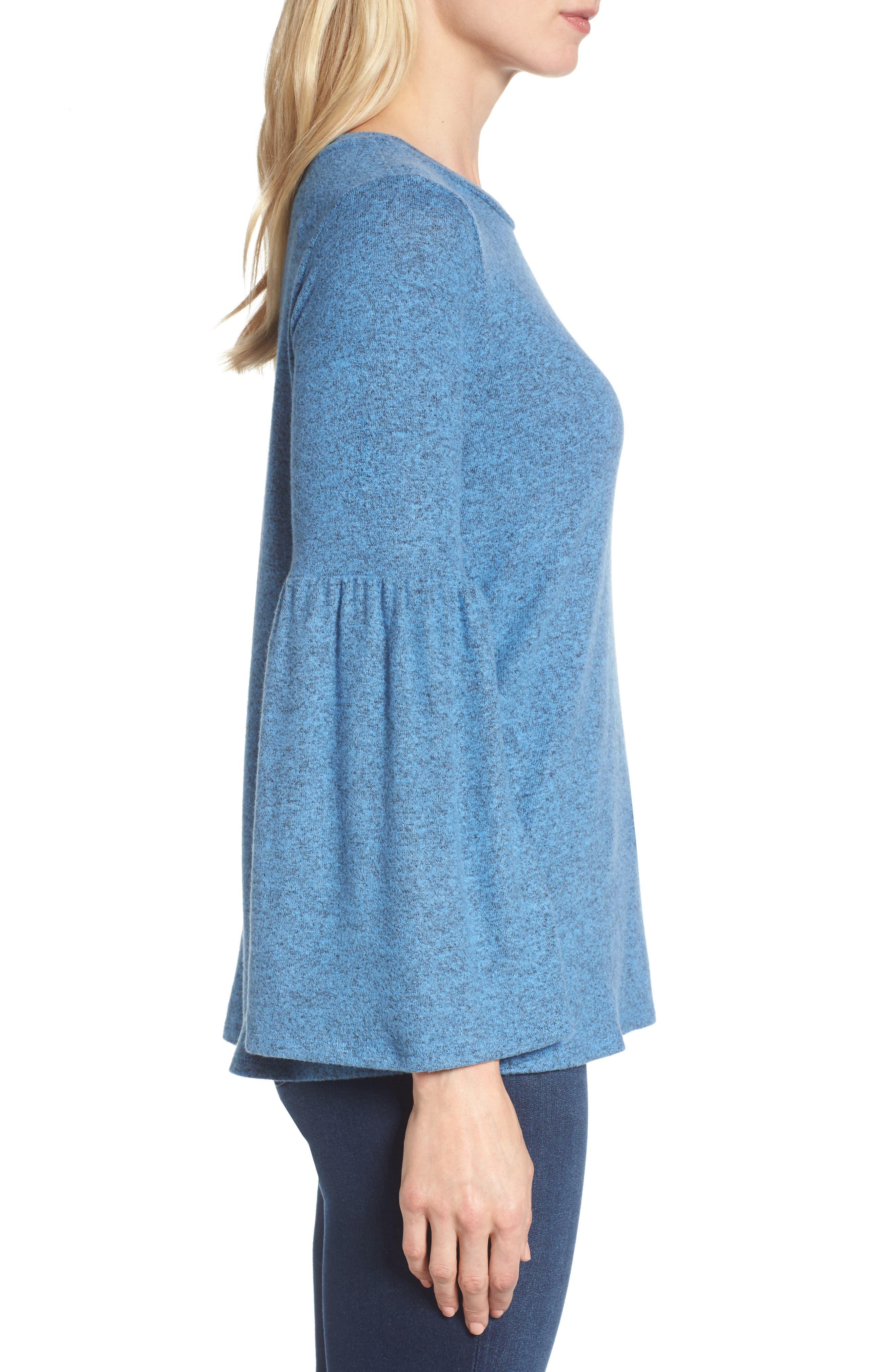 Bell Sleeve Cozy Fleece Pullover,                             Alternate thumbnail 27, color,