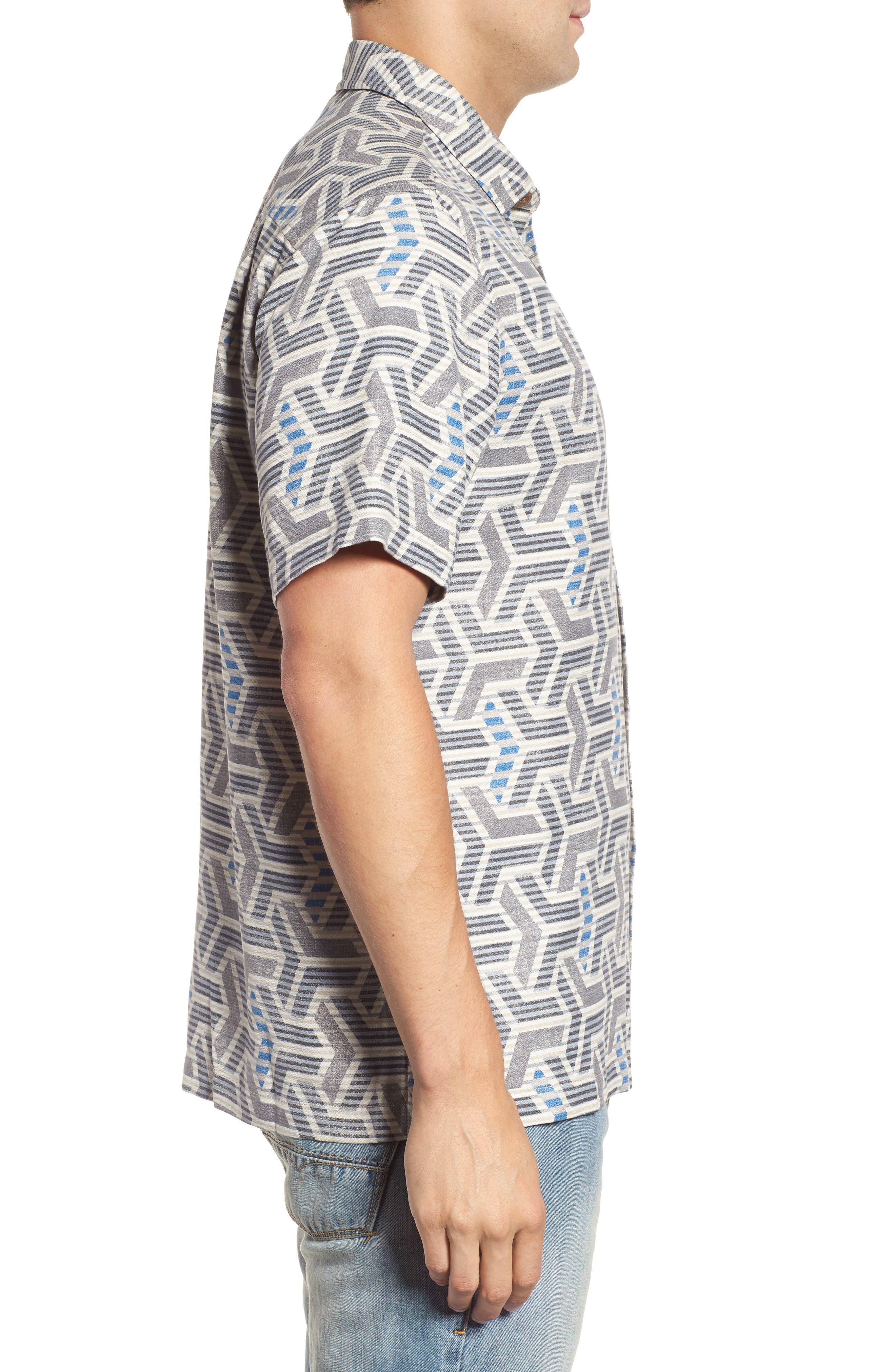 Wellington Geometric Print Sport Shirt,                             Alternate thumbnail 3, color,