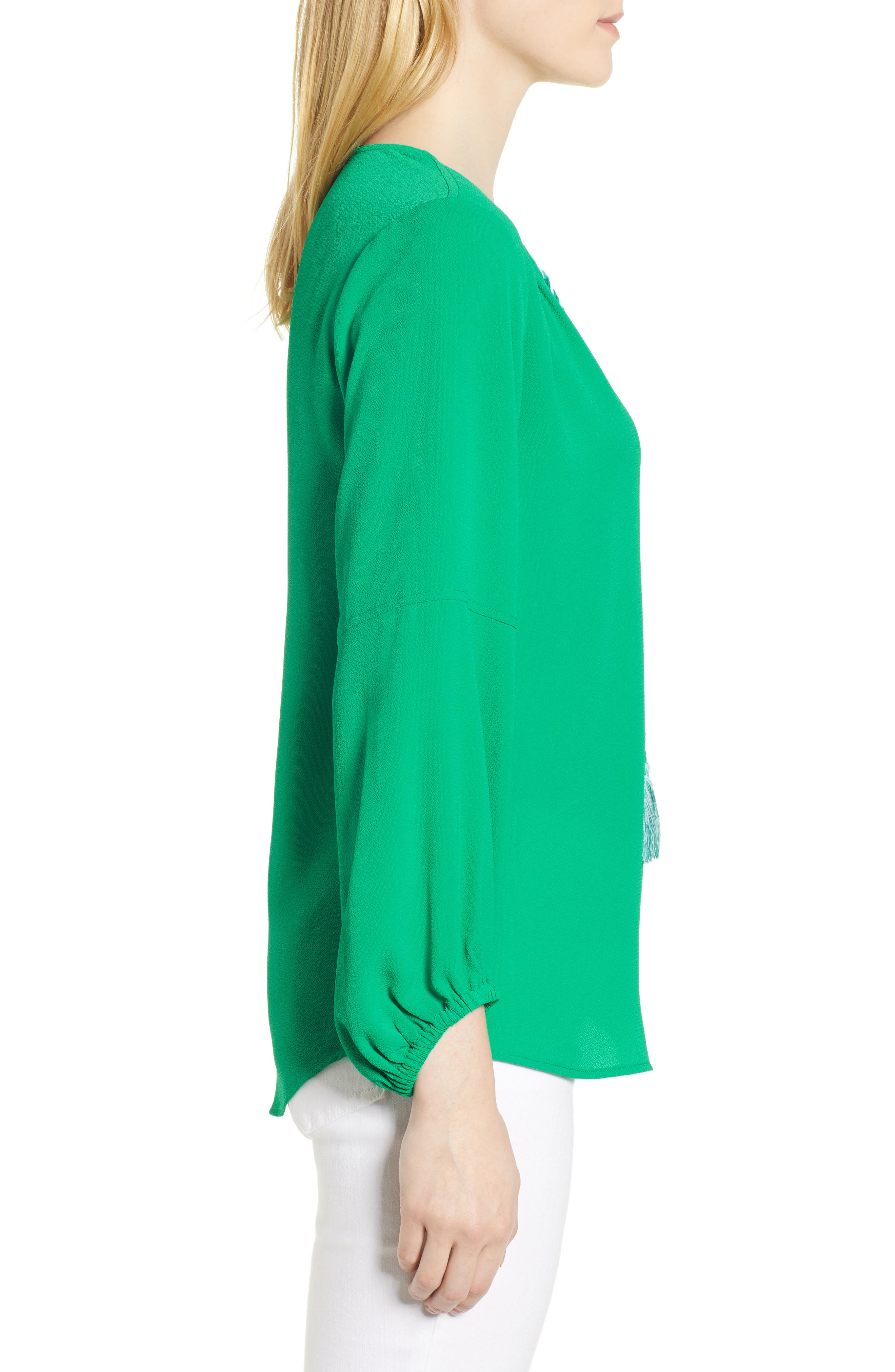 Tie Neck Crepe Blouse,                             Alternate thumbnail 3, color,                             GALLERY GREEN