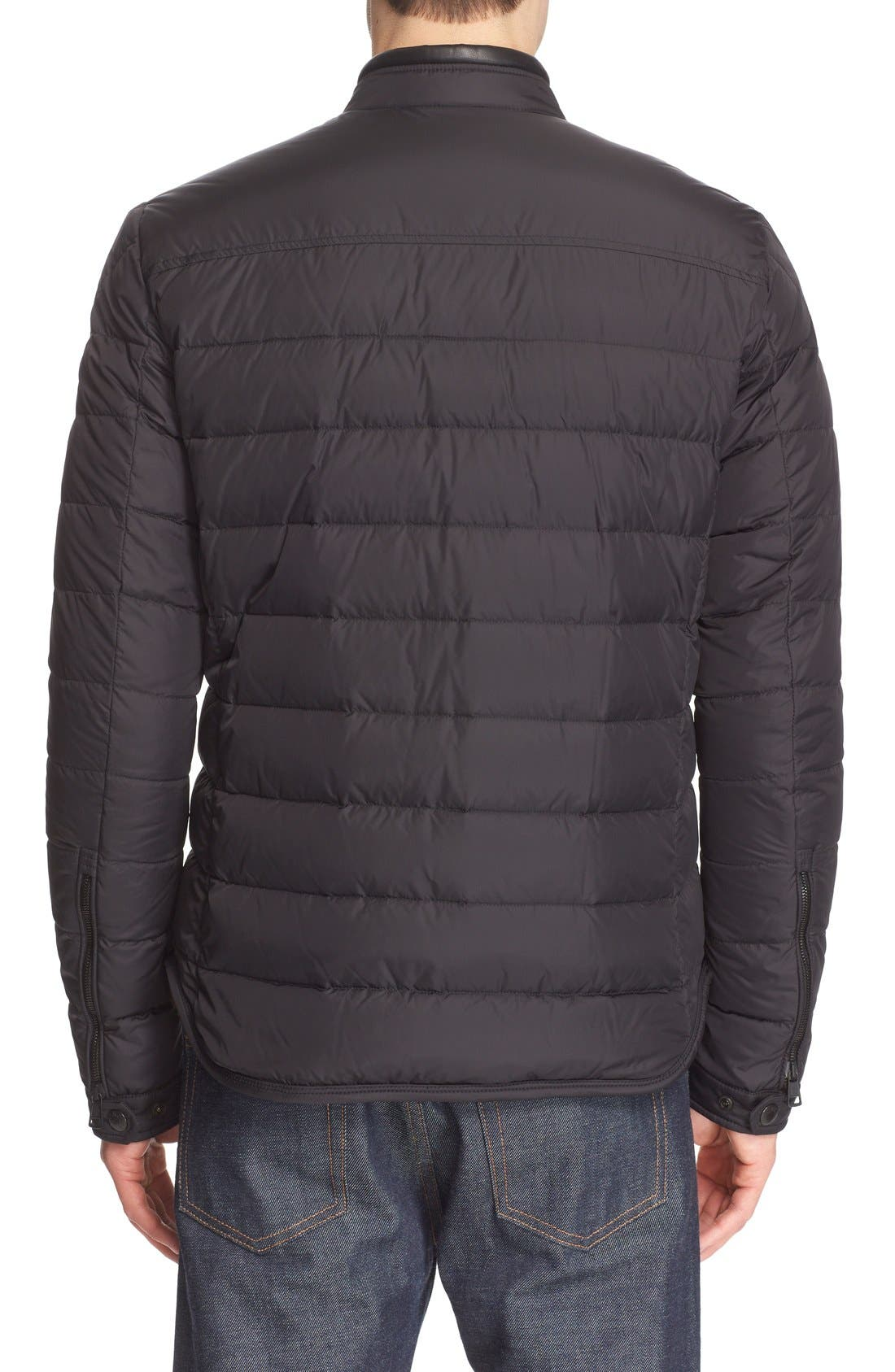 'Hanriot' Leather Trim Quilted Down Moto Jacket,                             Alternate thumbnail 2, color,                             001