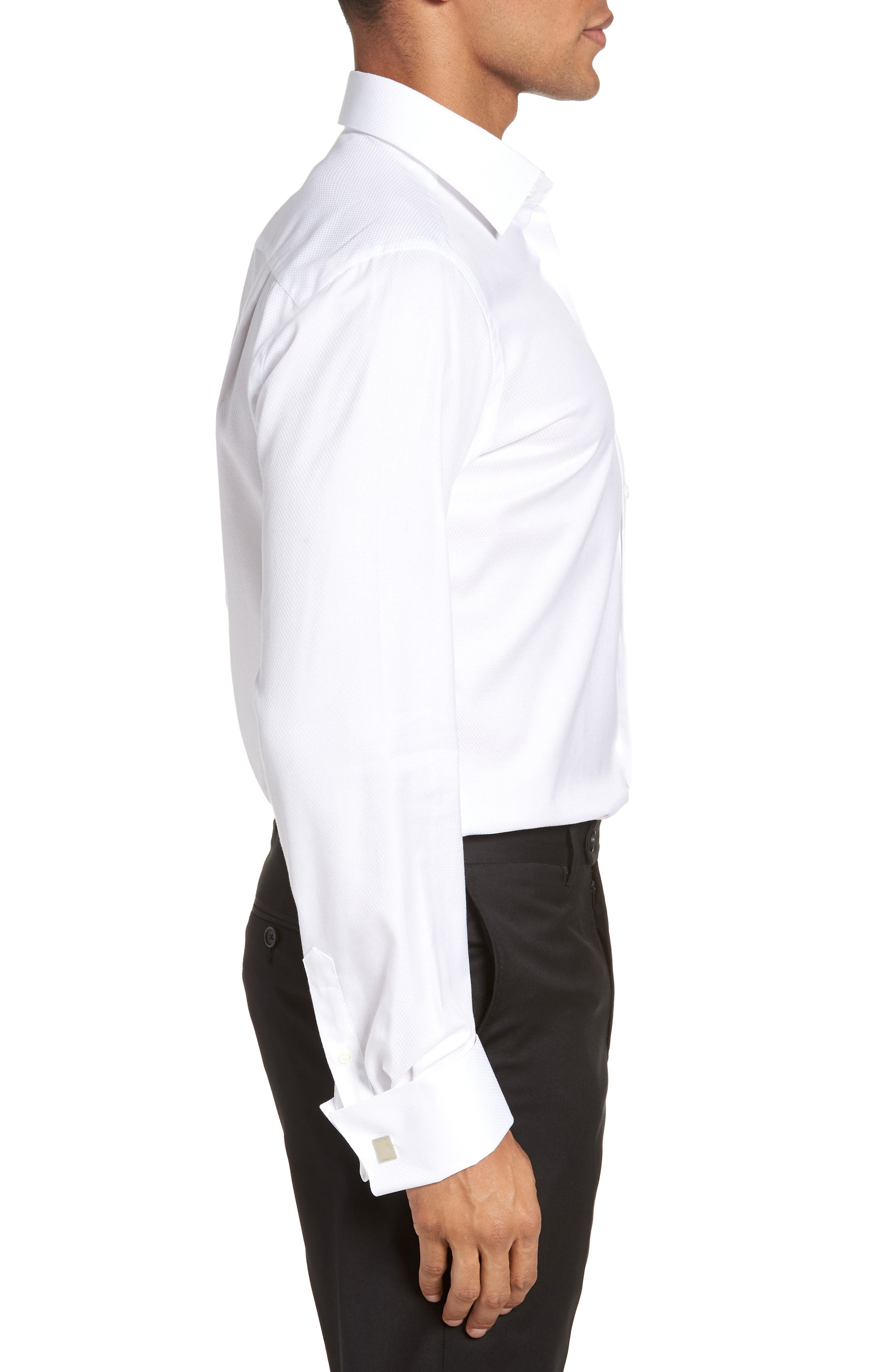 Trim Fit Solid French Cuff Tuxedo Shirt,                             Alternate thumbnail 4, color,                             WHITE