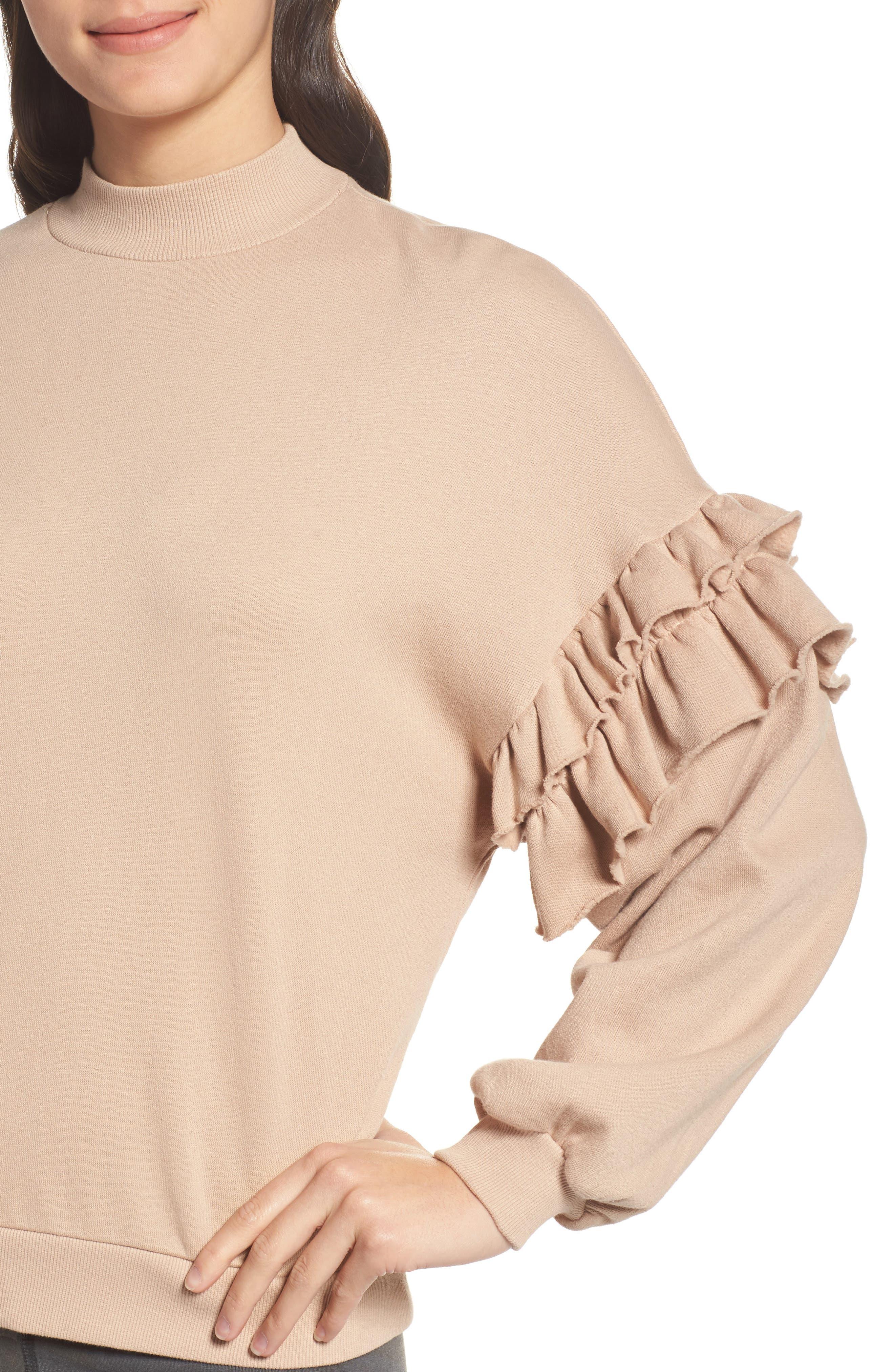 Ruffle Sweatshirt,                             Alternate thumbnail 4, color,