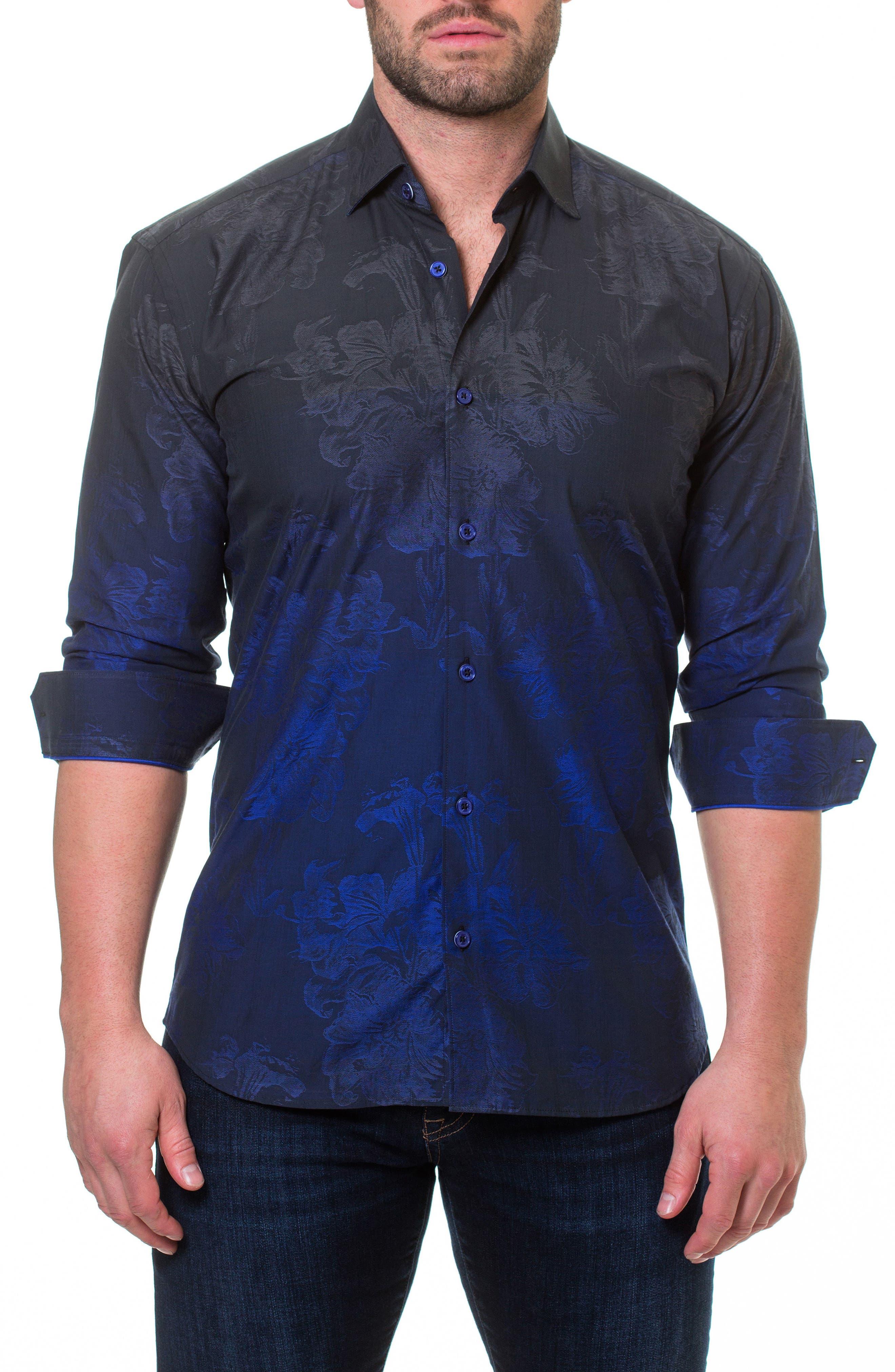Luxor Mariana Blue Slim Fit Sport Shirt,                             Main thumbnail 1, color,