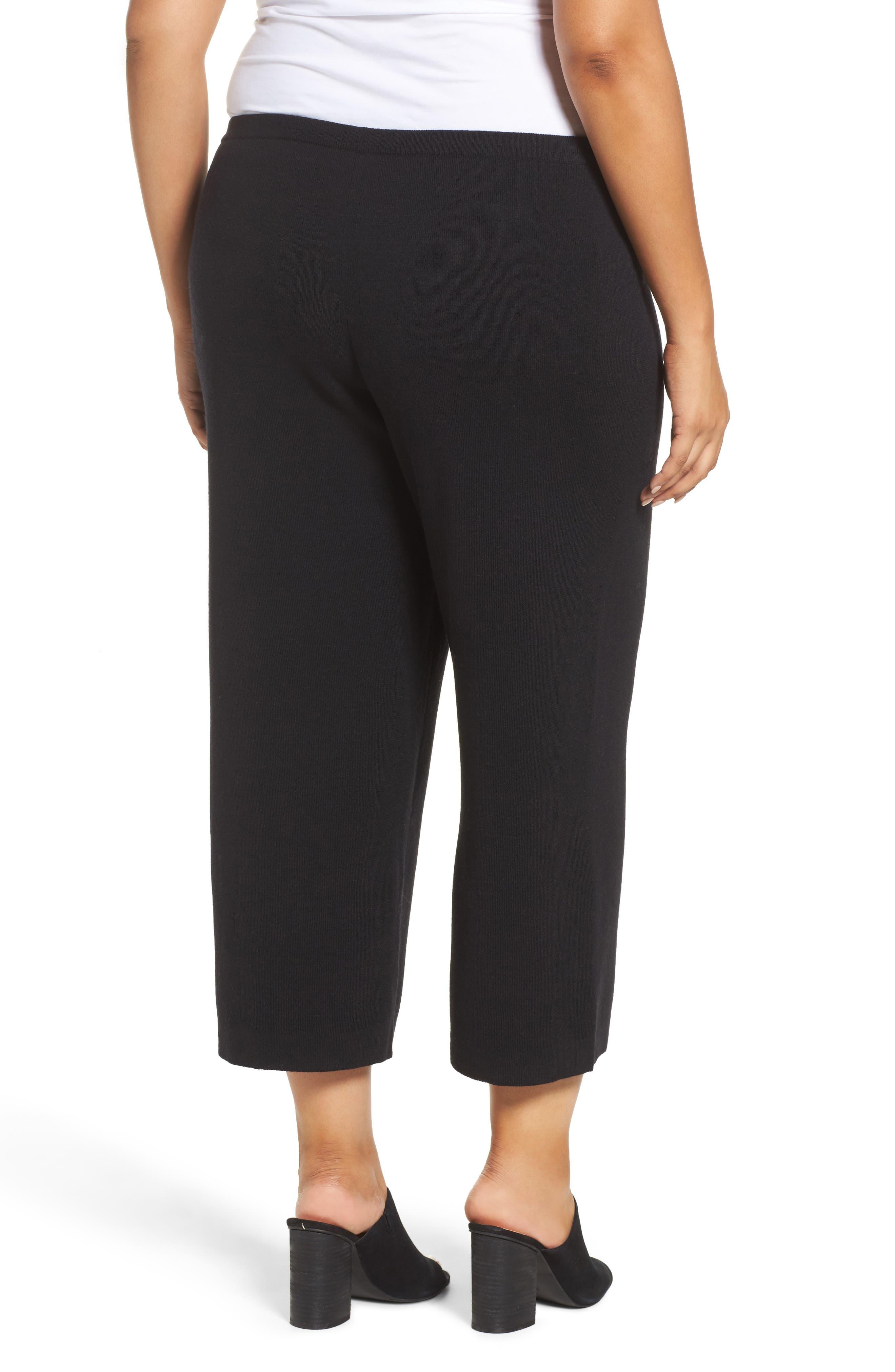 Wide Leg Crop Wool Pants,                             Alternate thumbnail 3, color,