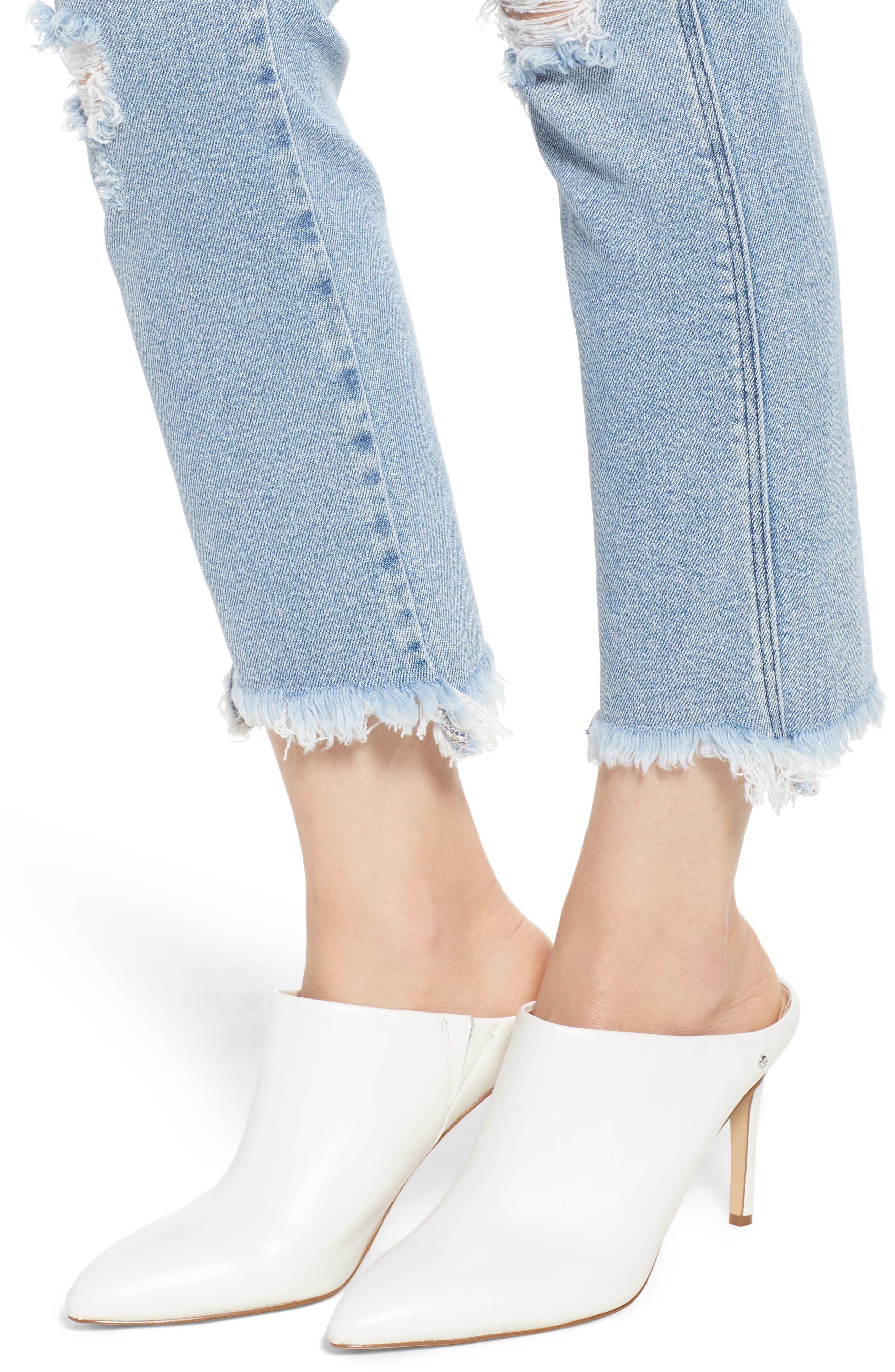 Valetta High Waist Crop Straight Leg Jeans,                             Alternate thumbnail 4, color,                             450