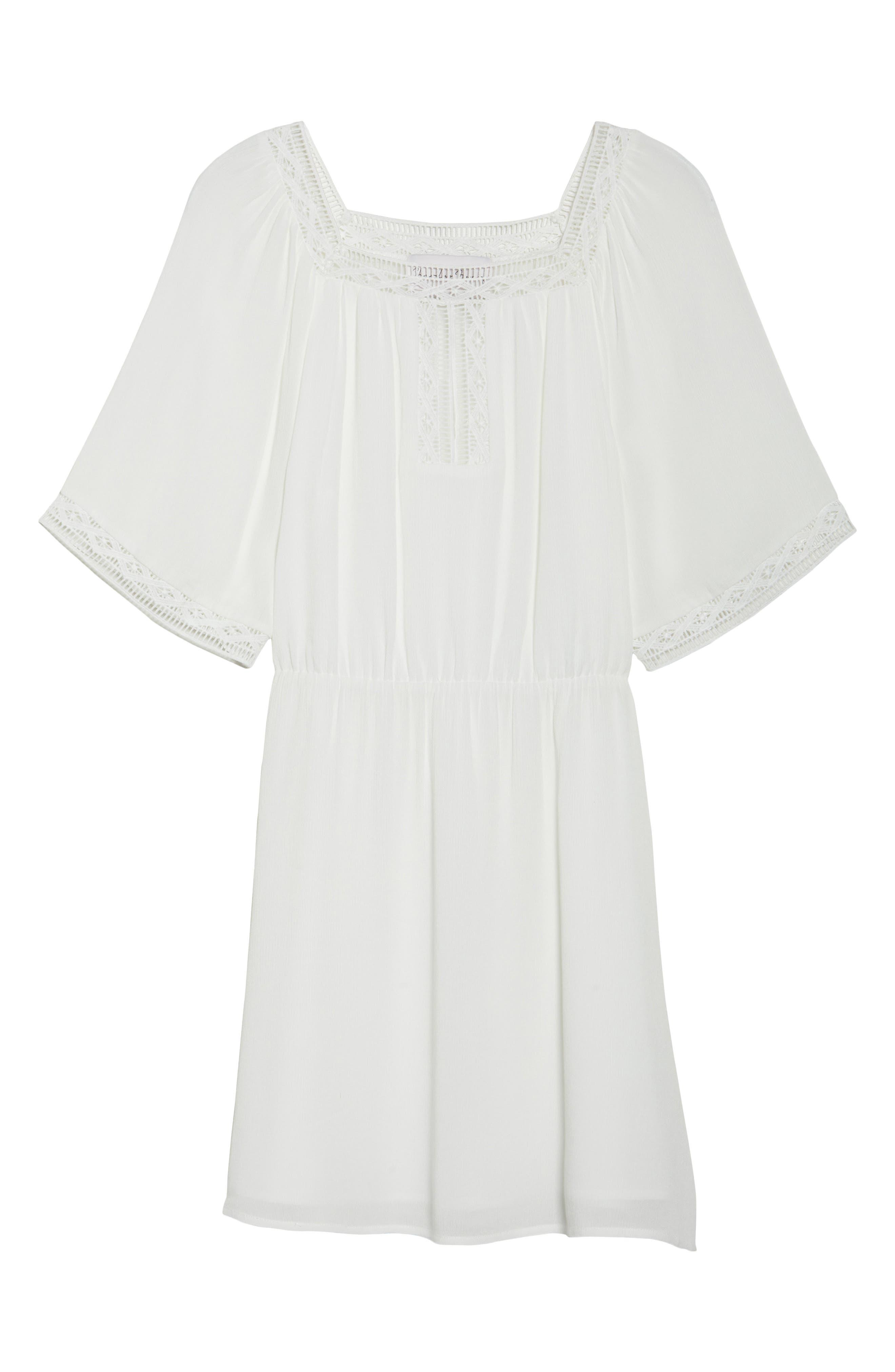 Lace Trim Peasant Minidress,                             Alternate thumbnail 6, color,