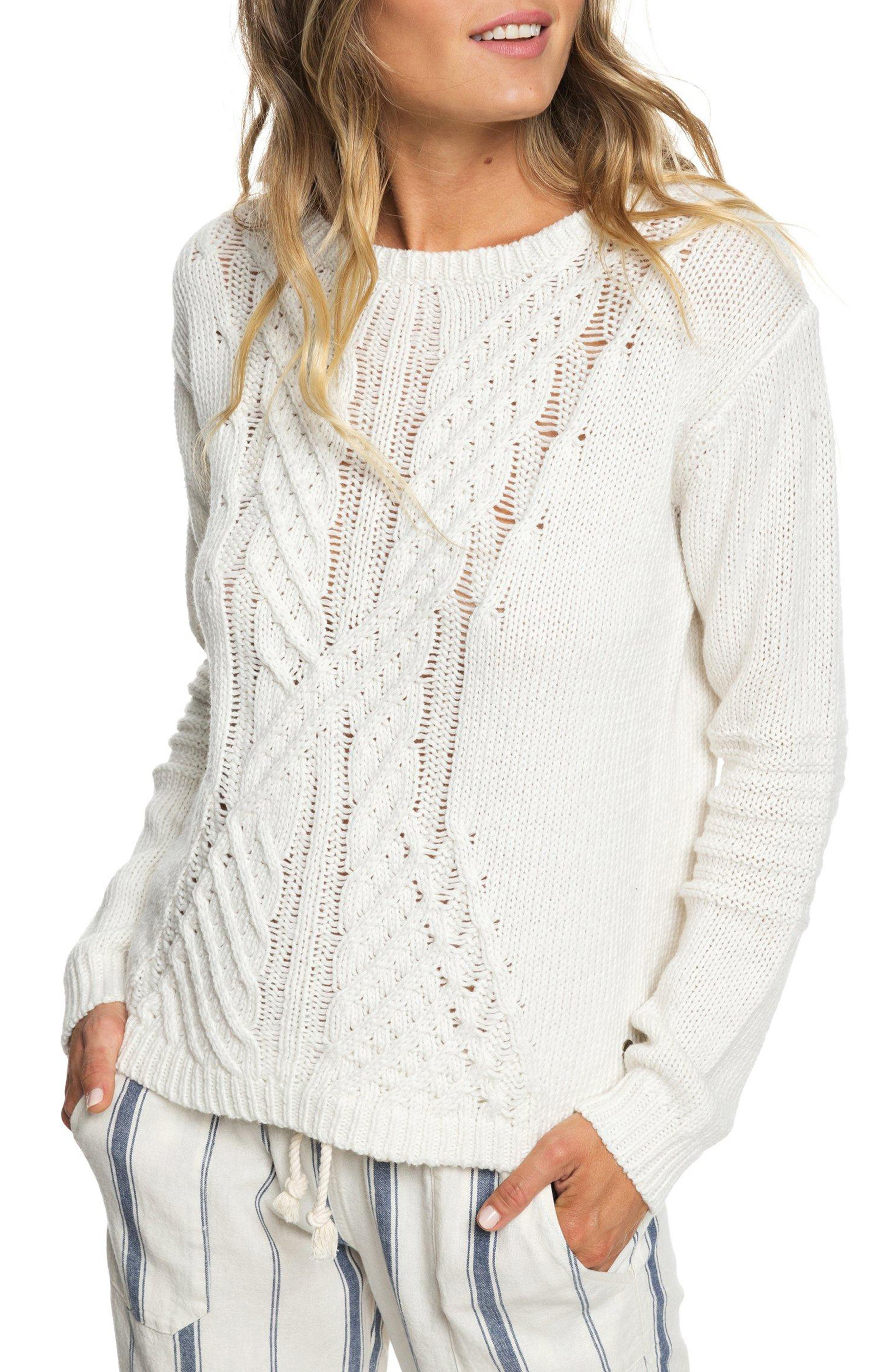 Glimpse of Romance Cable Knit Sweater,                             Main thumbnail 1, color,                             MARSHMALLOW