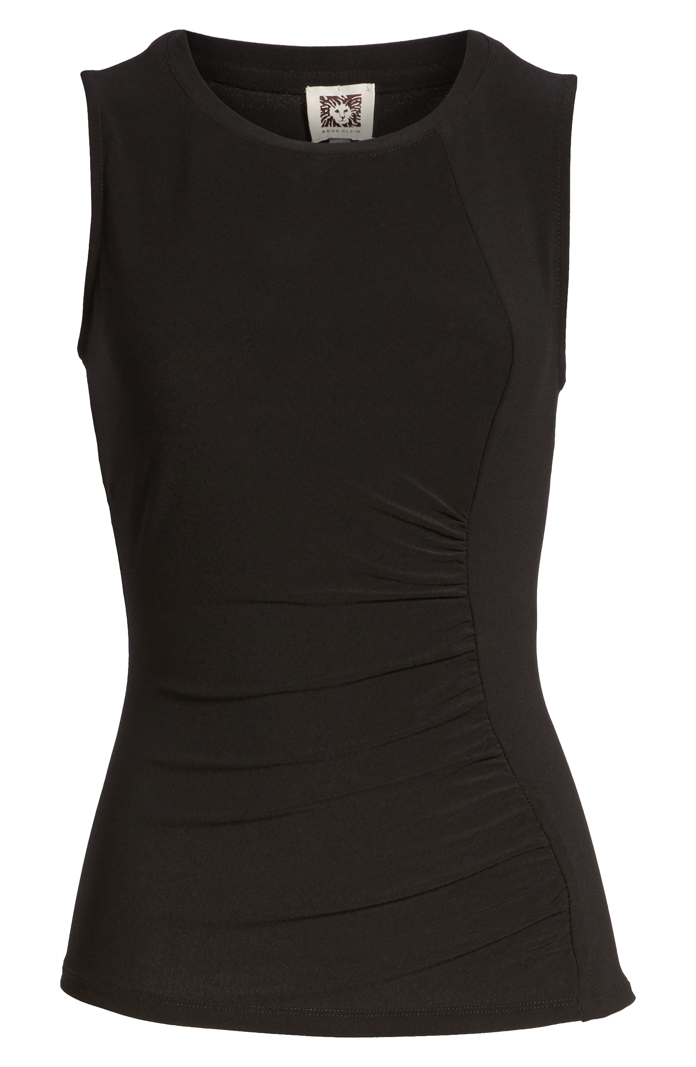 Ann Klein Side Ruched Knit Tank,                             Alternate thumbnail 6, color,                             001