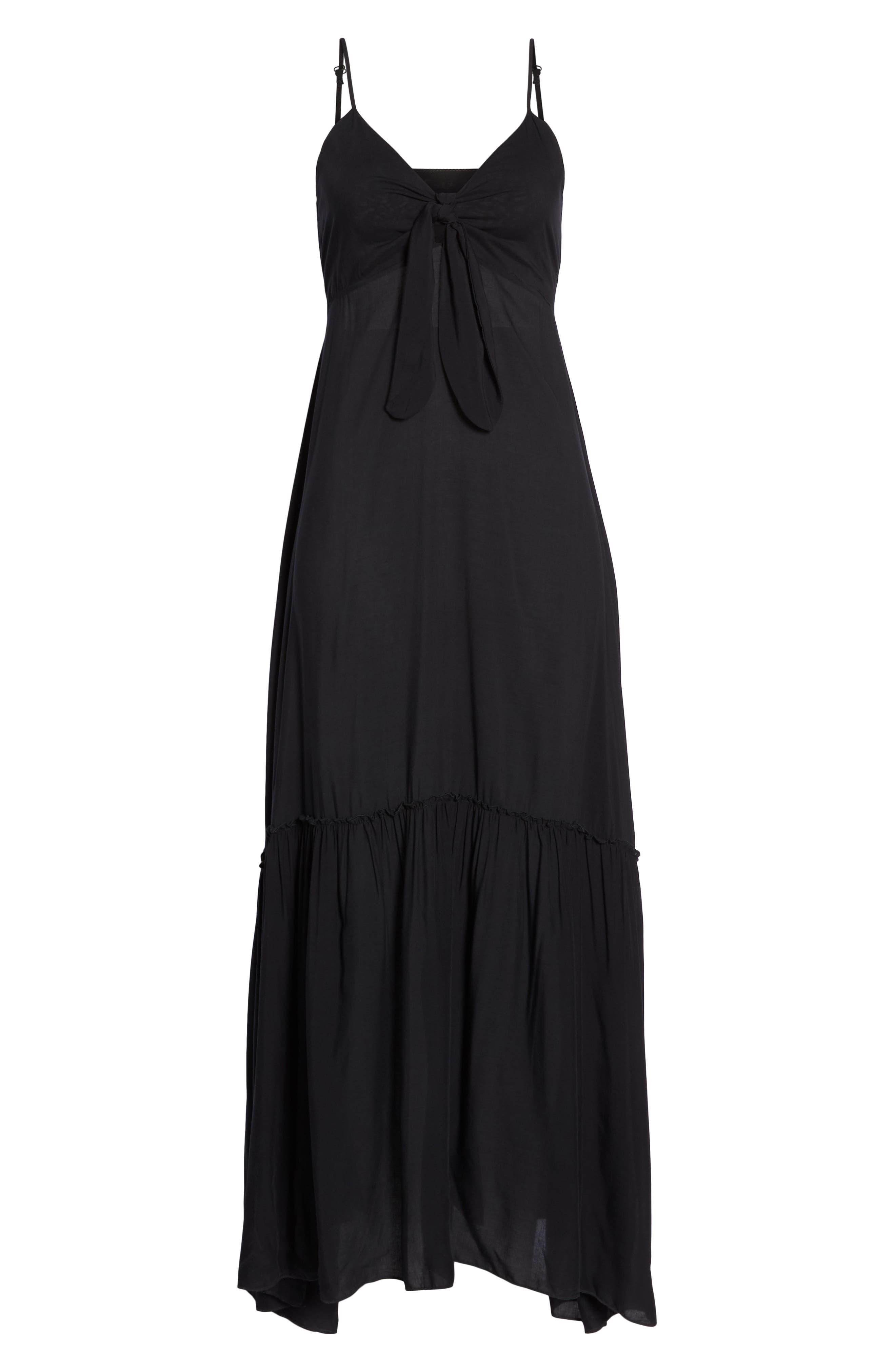 Maxi Cover-Up Dress,                             Alternate thumbnail 6, color,                             BLACK