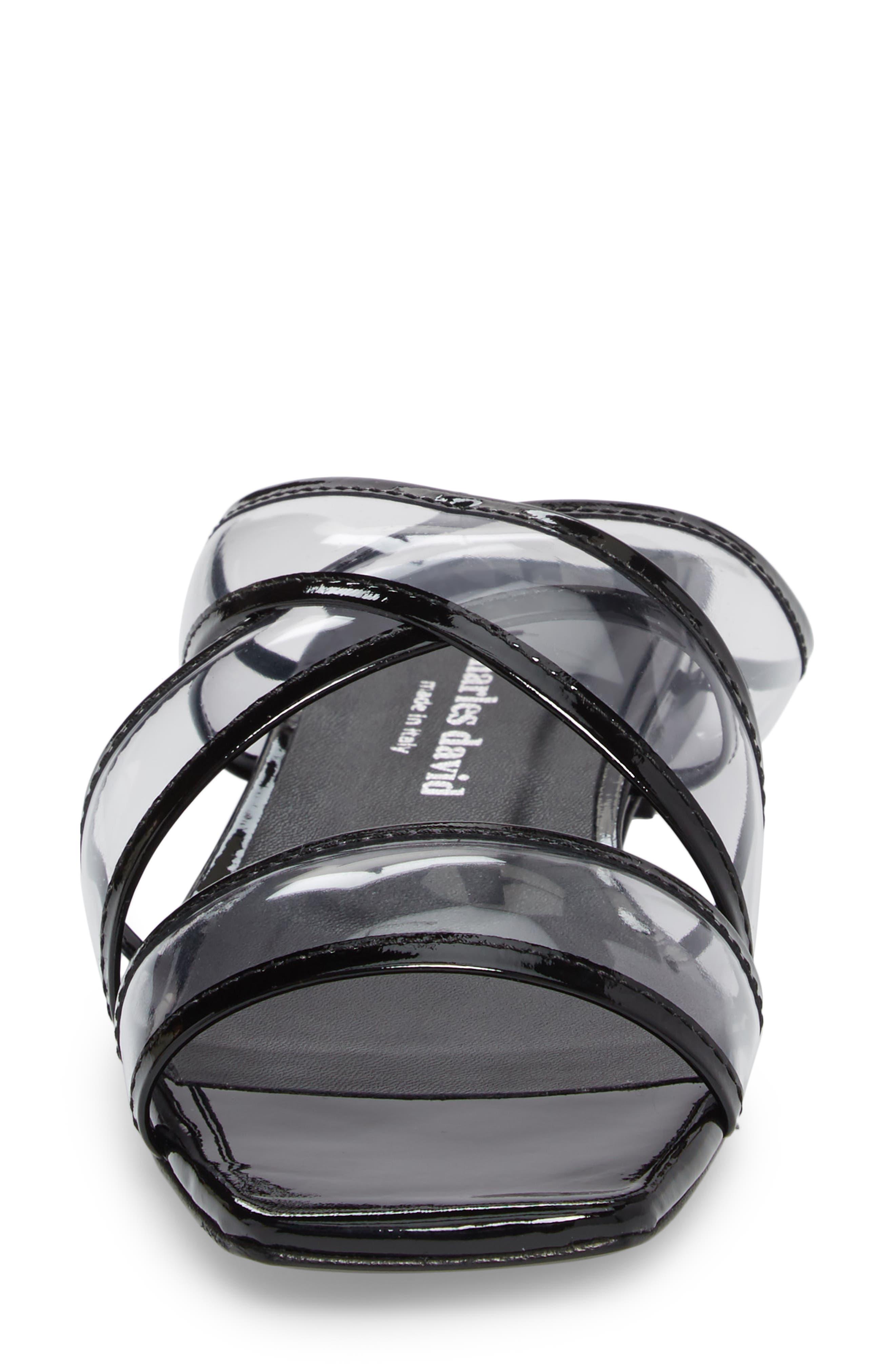 Drea Transparent Strap Slide Sandal,                             Alternate thumbnail 4, color,                             BLACK