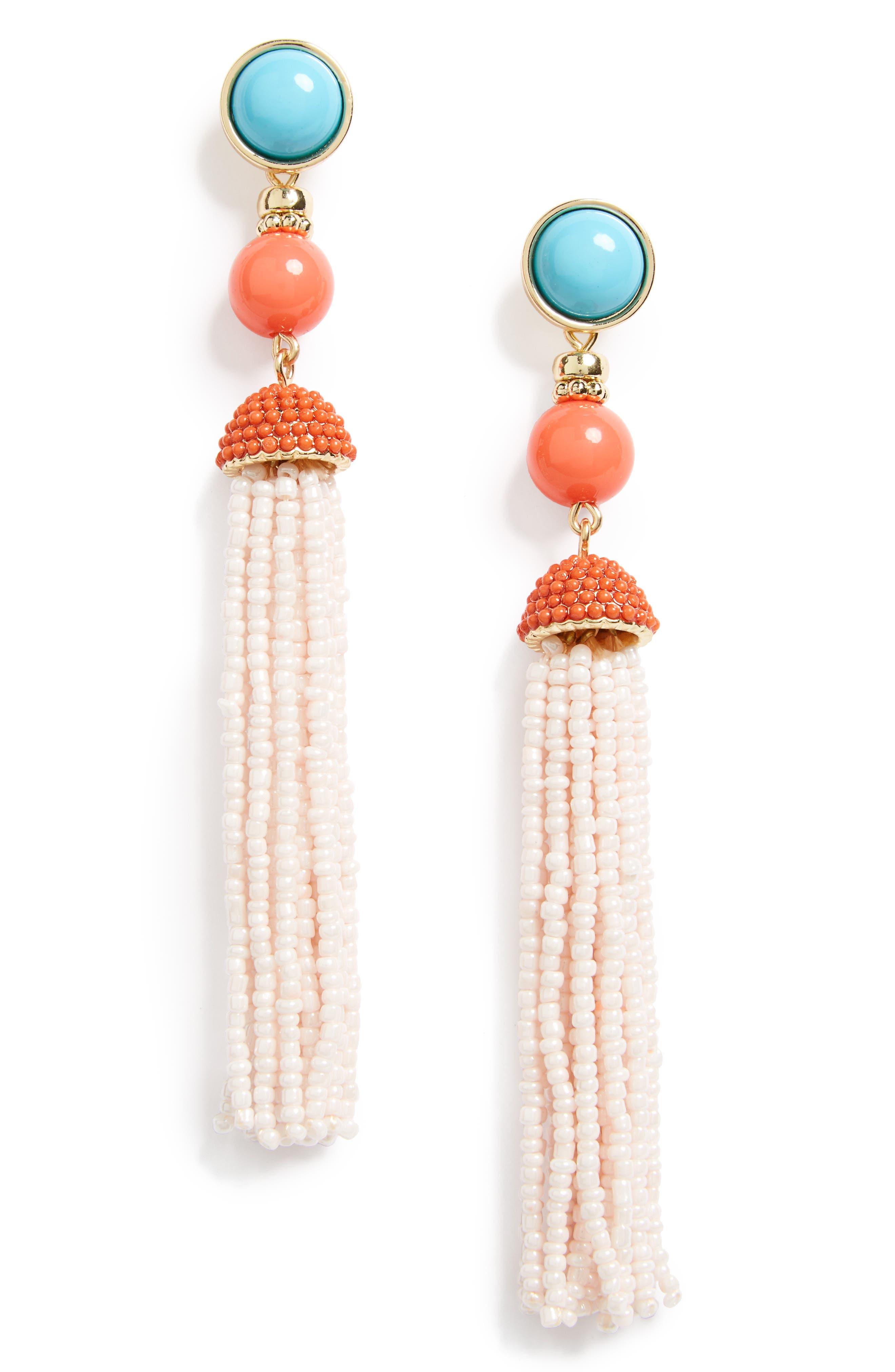 'Artemis' Beaded Tassel Drop Earrings,                             Main thumbnail 3, color,
