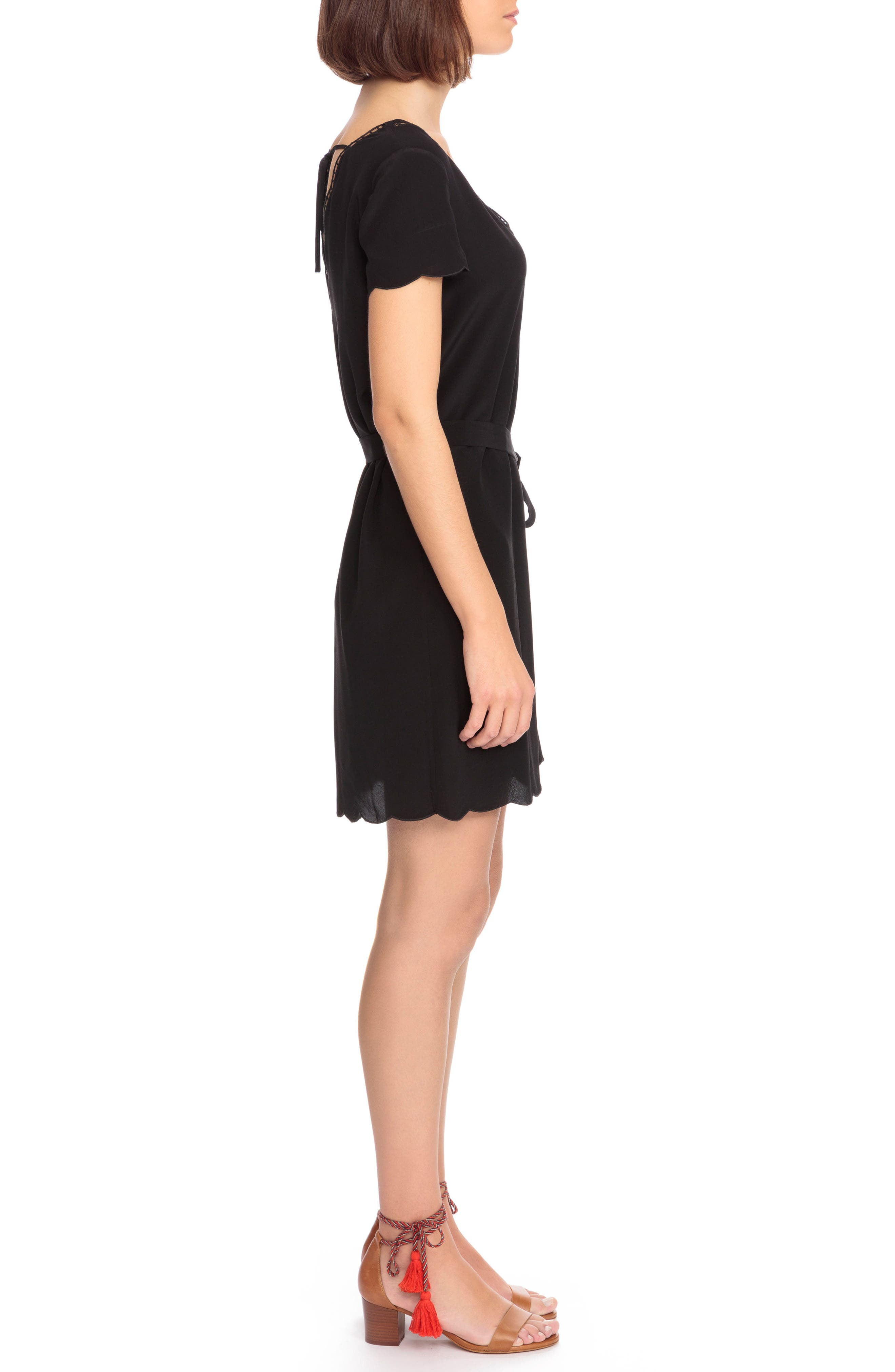 Anabella Belted Silk Dress,                             Alternate thumbnail 3, color,                             001