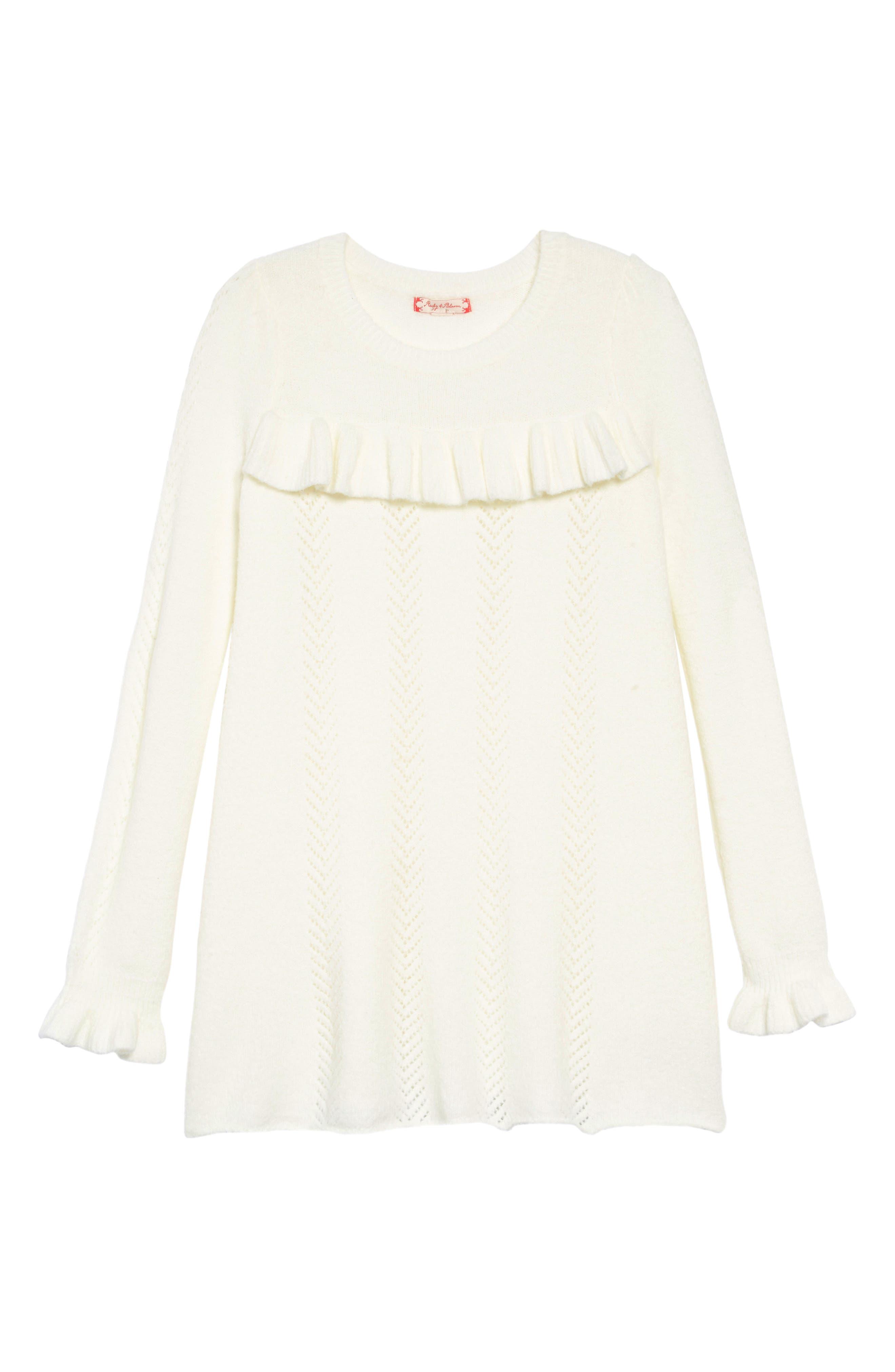 Pointelle Sweater Dress,                             Main thumbnail 1, color,                             IVORY EGRET