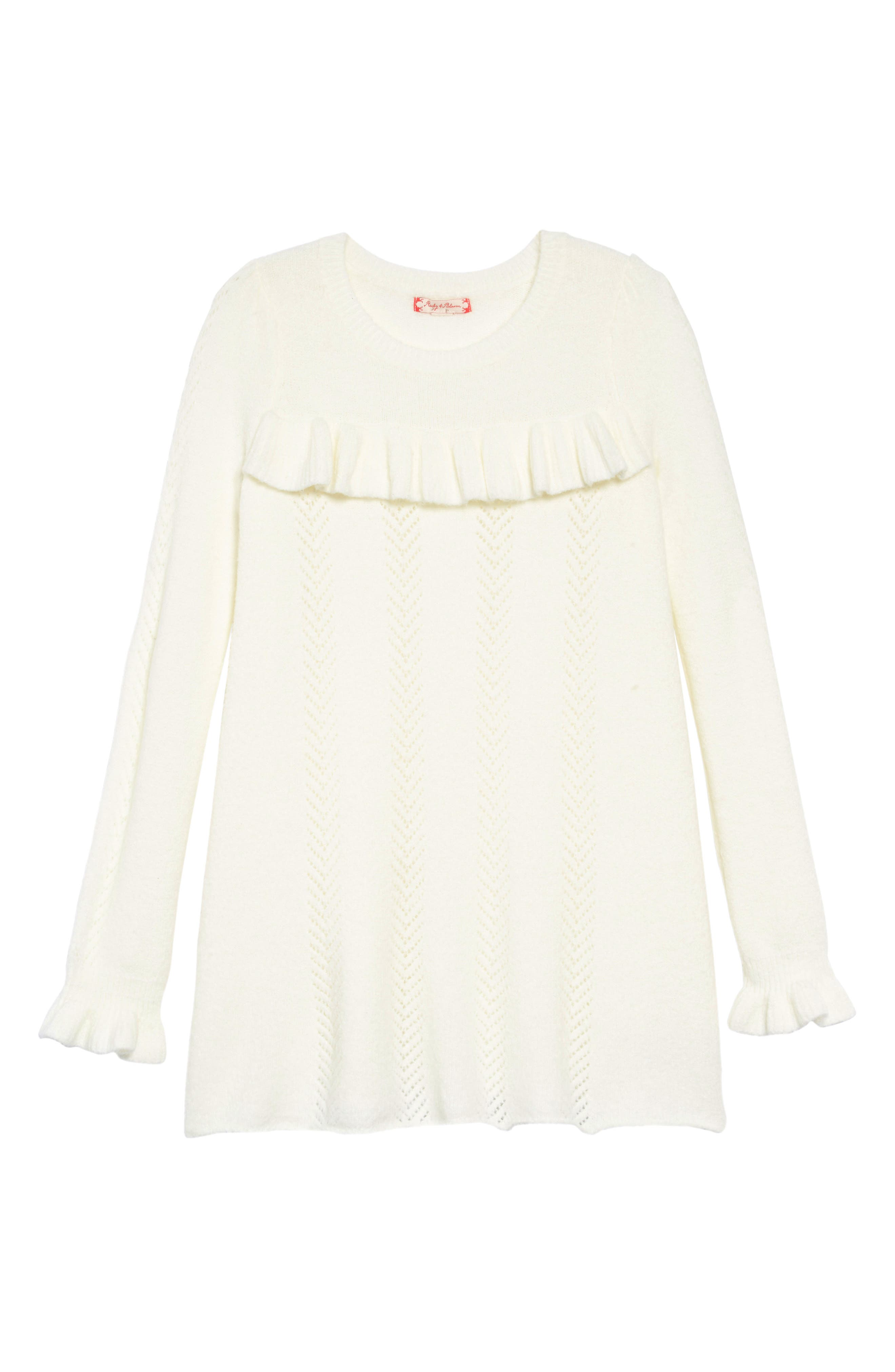 Pointelle Sweater Dress,                         Main,                         color, IVORY EGRET
