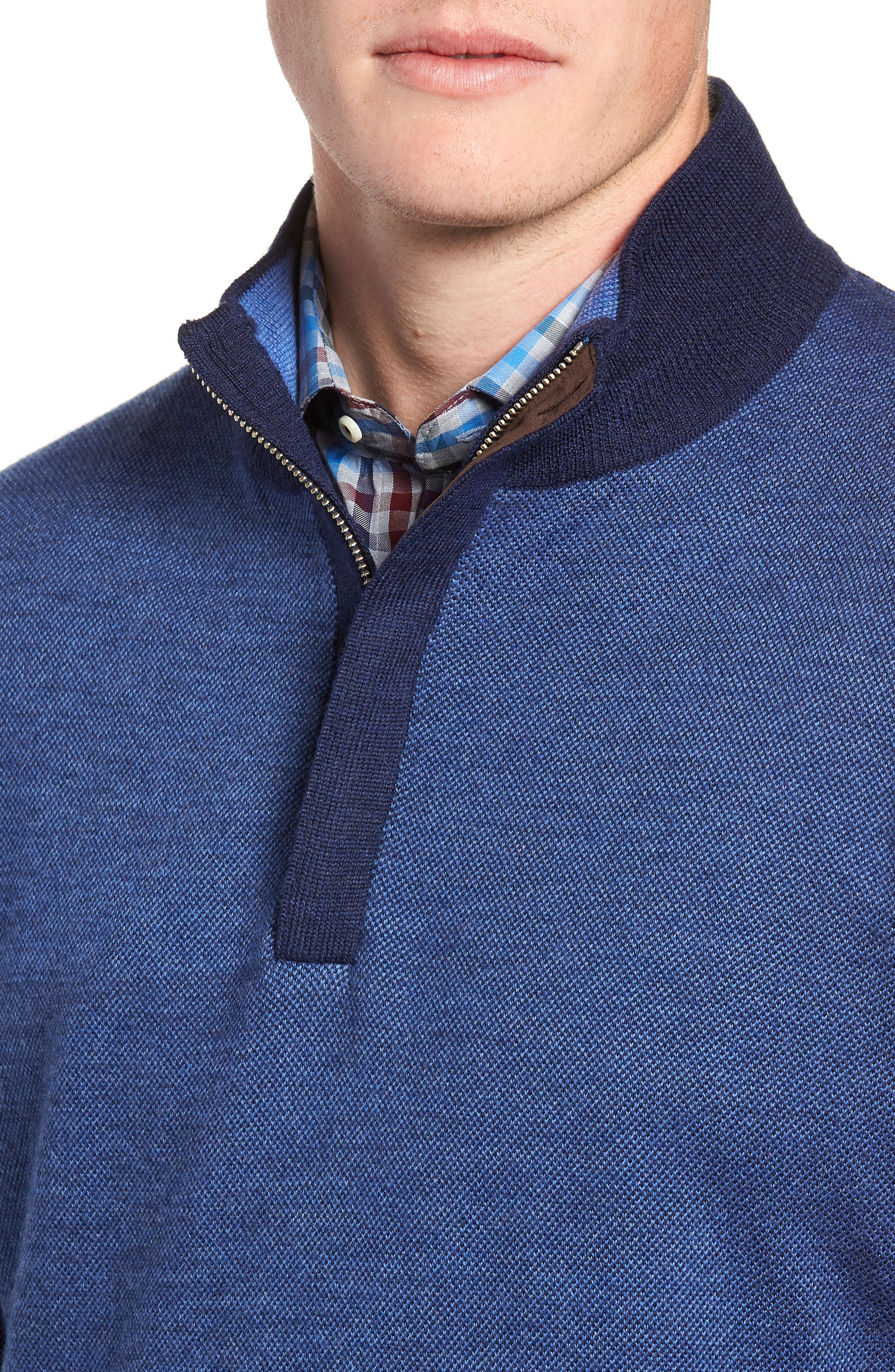 Birdseye Merino Wool Quarter Zip Sweater,                             Alternate thumbnail 4, color,                             PLAZA BLUE