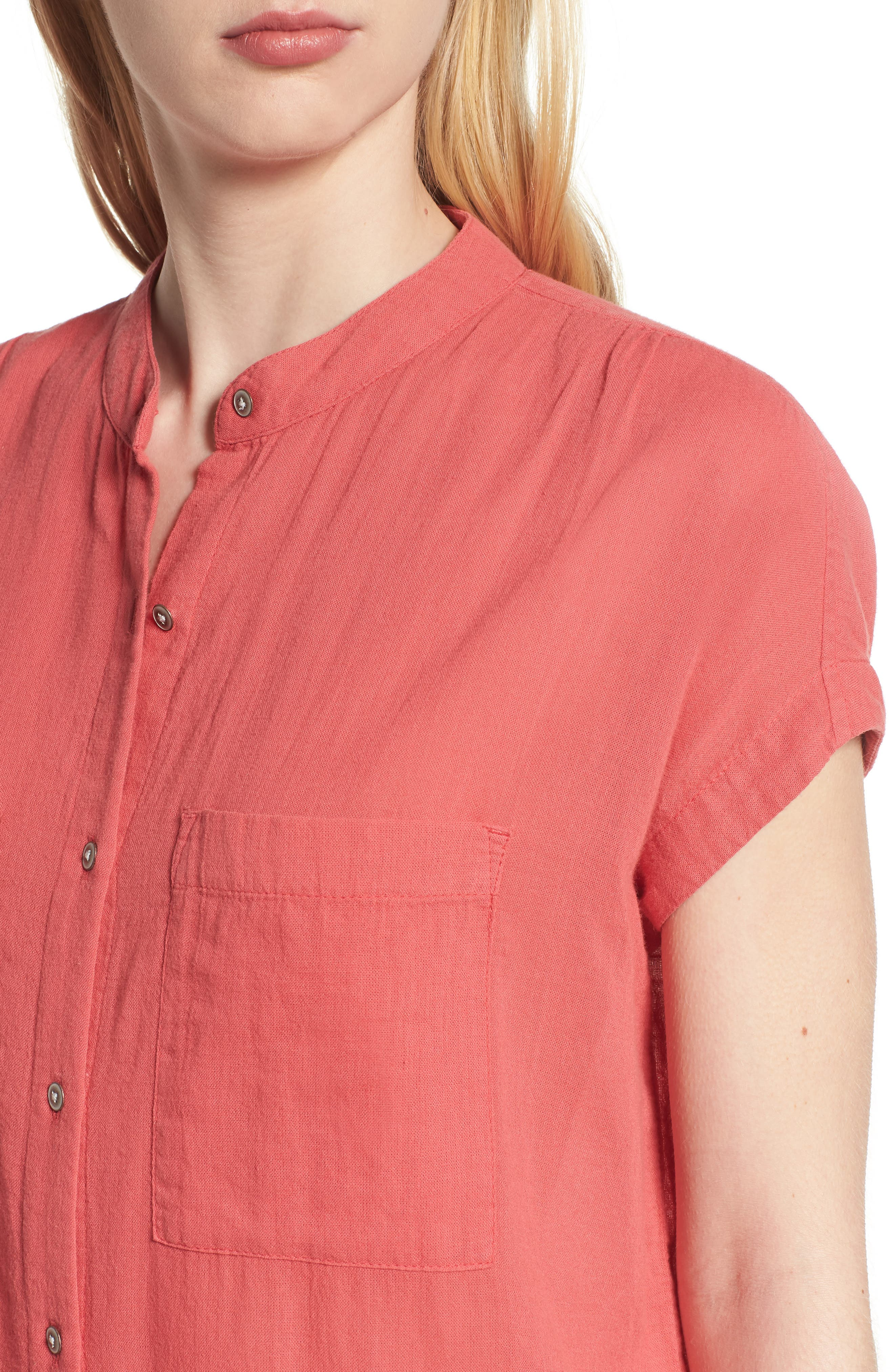 Button Front Longline Top,                             Alternate thumbnail 33, color,
